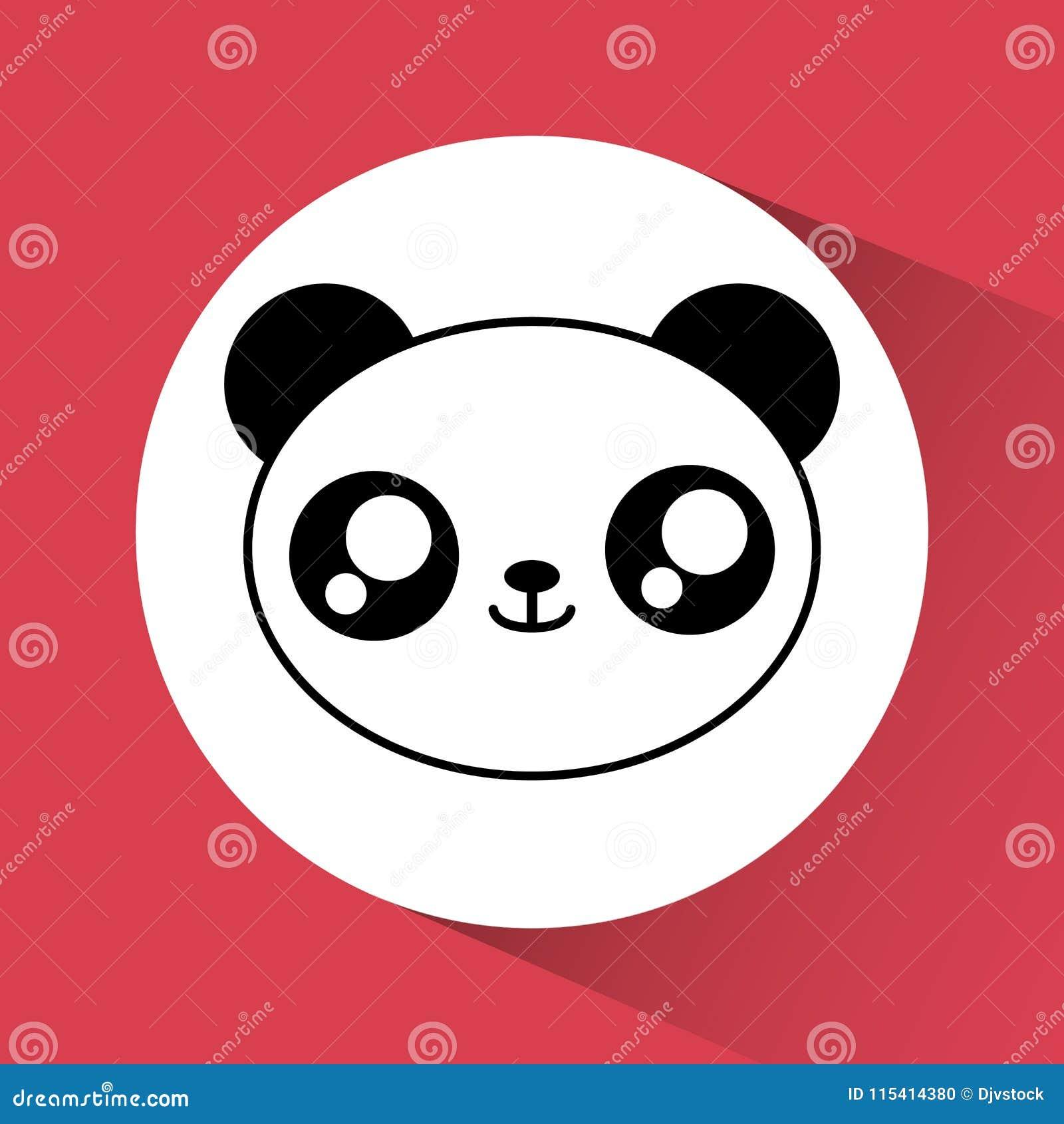 значок панды Kawaii животное милое по мере того как вектор