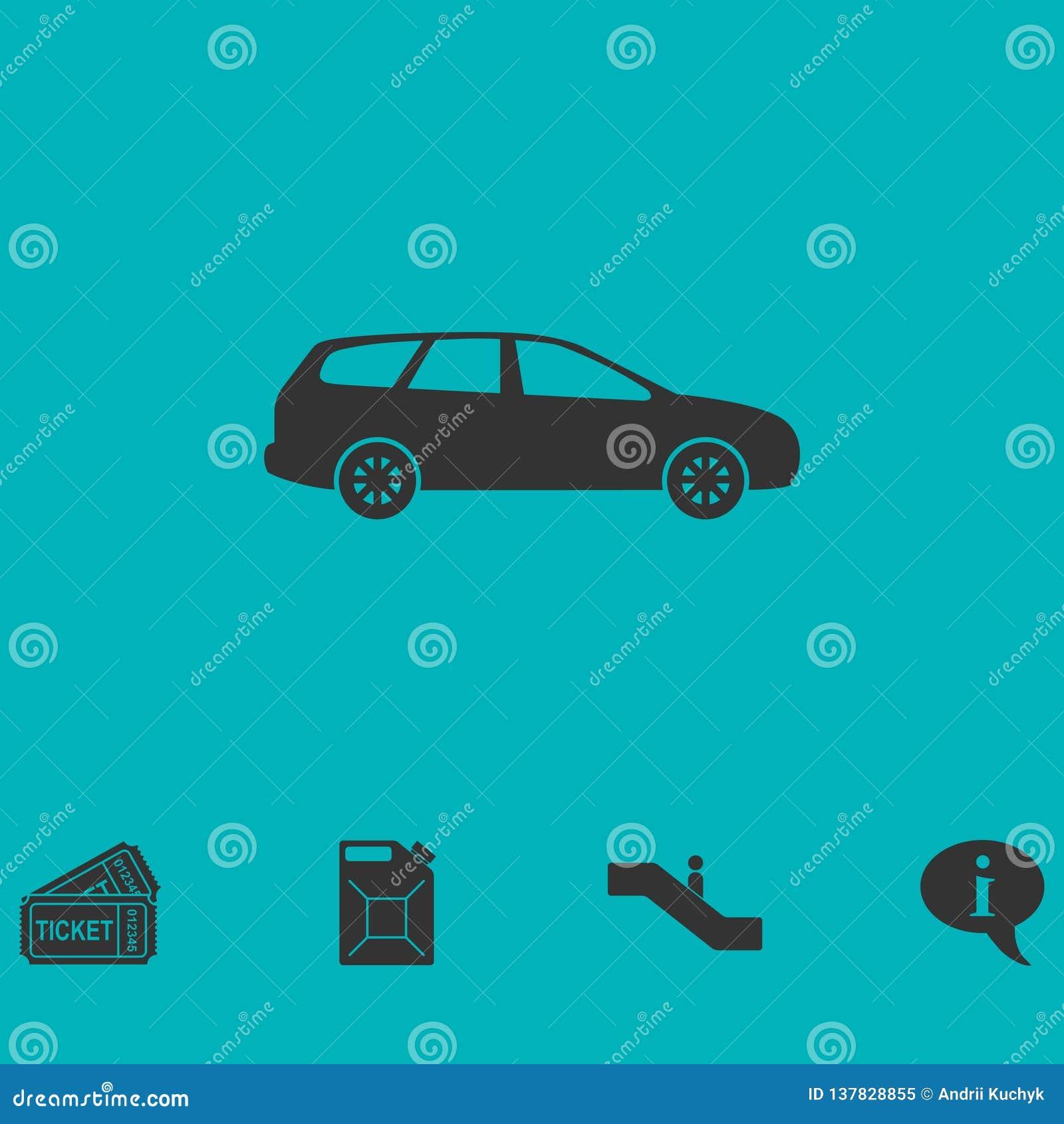 Значок пассажирского автомобиля плоско
