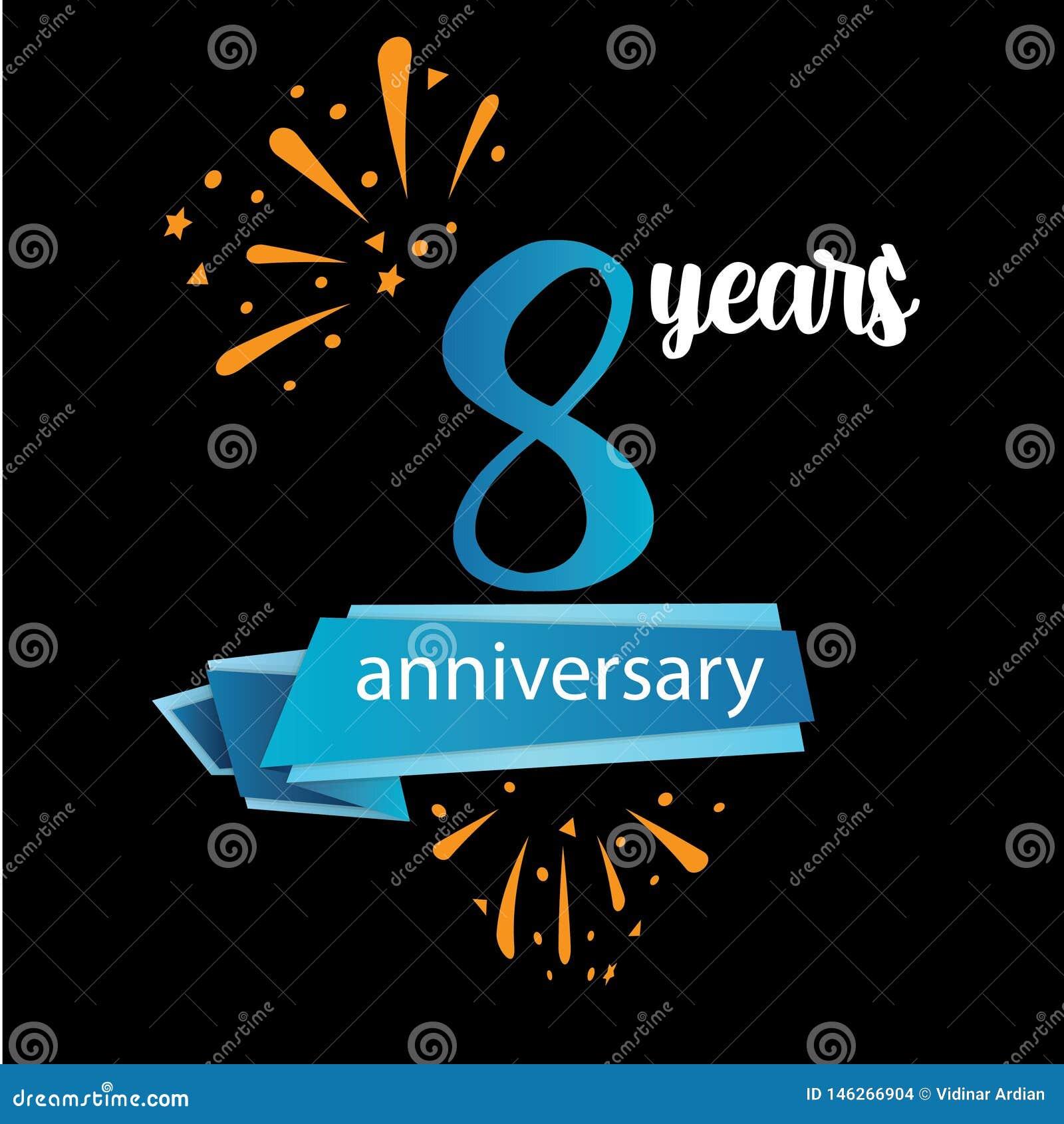 значок пиктограммы 8 годовщин, дня рождения леты ярлыка логотипа r Изолированный на черной предпосылке - векторе