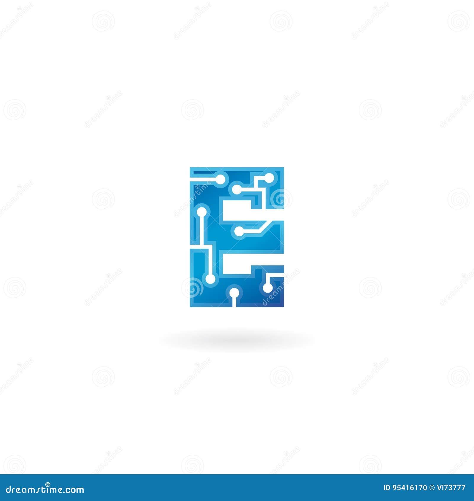 Значок письма e Логотип, компьютер и данные по технологии умные связали дело, высок-техник и новаторское, электронное