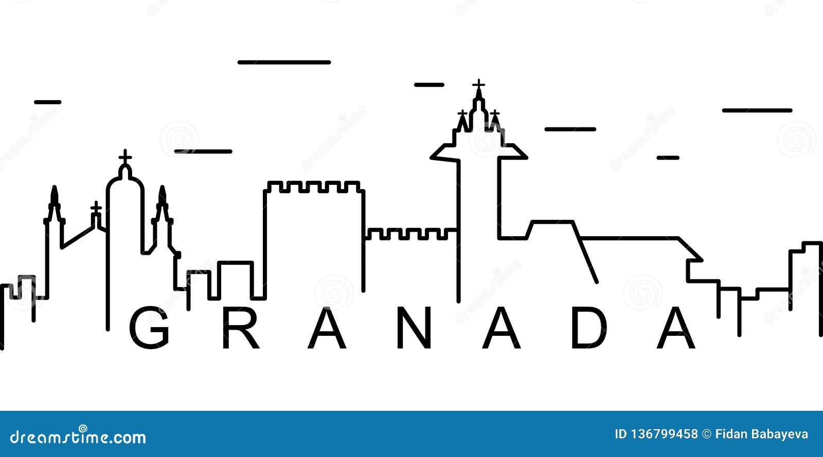 Значок плана Гранады Смогите быть использовано для сети, логотипа, мобильного приложения, UI, UX