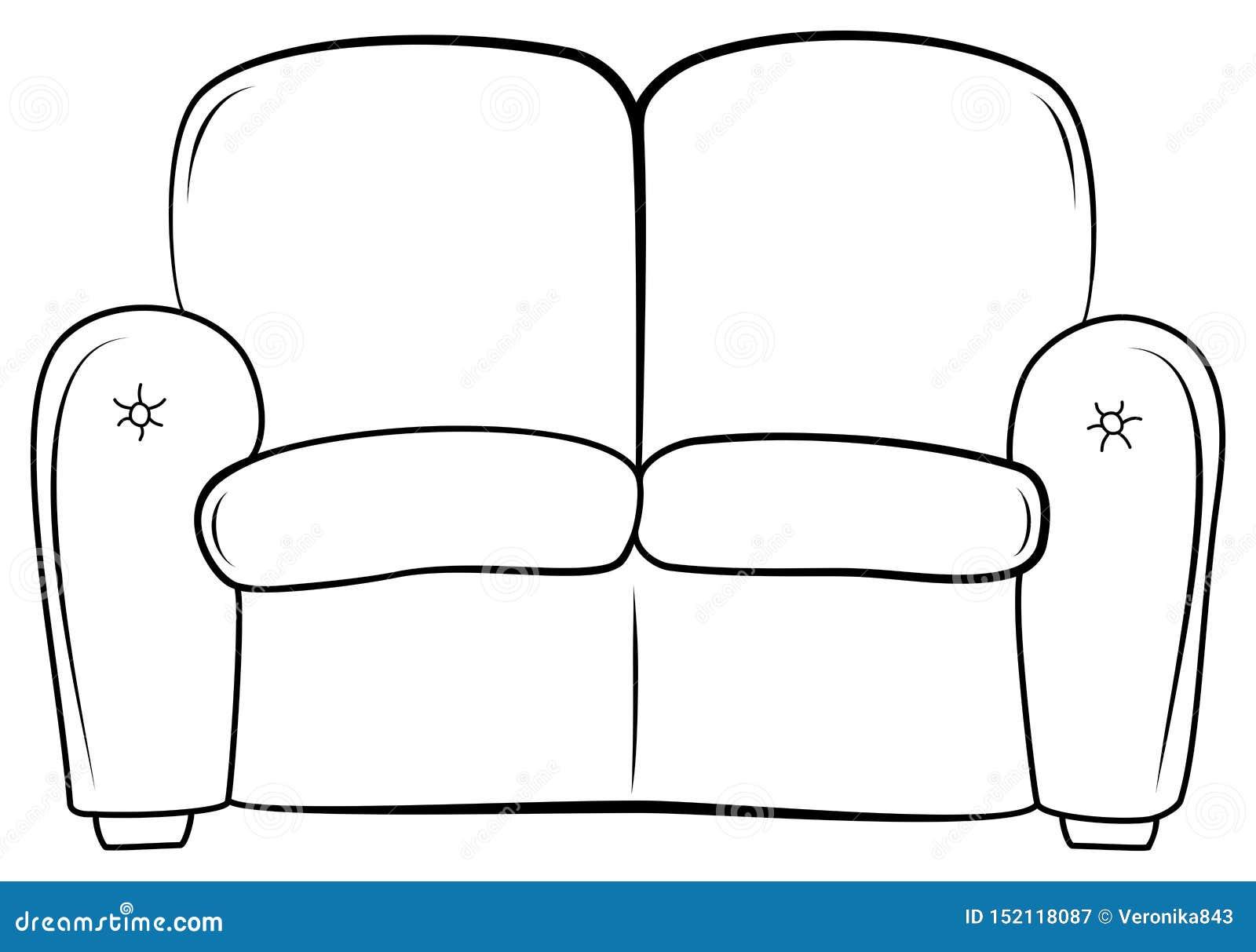 Значок плана кресла Софа эскиза руки вычерченная Место вектора обитое иллюстрацией Книжка-раскраска для детей