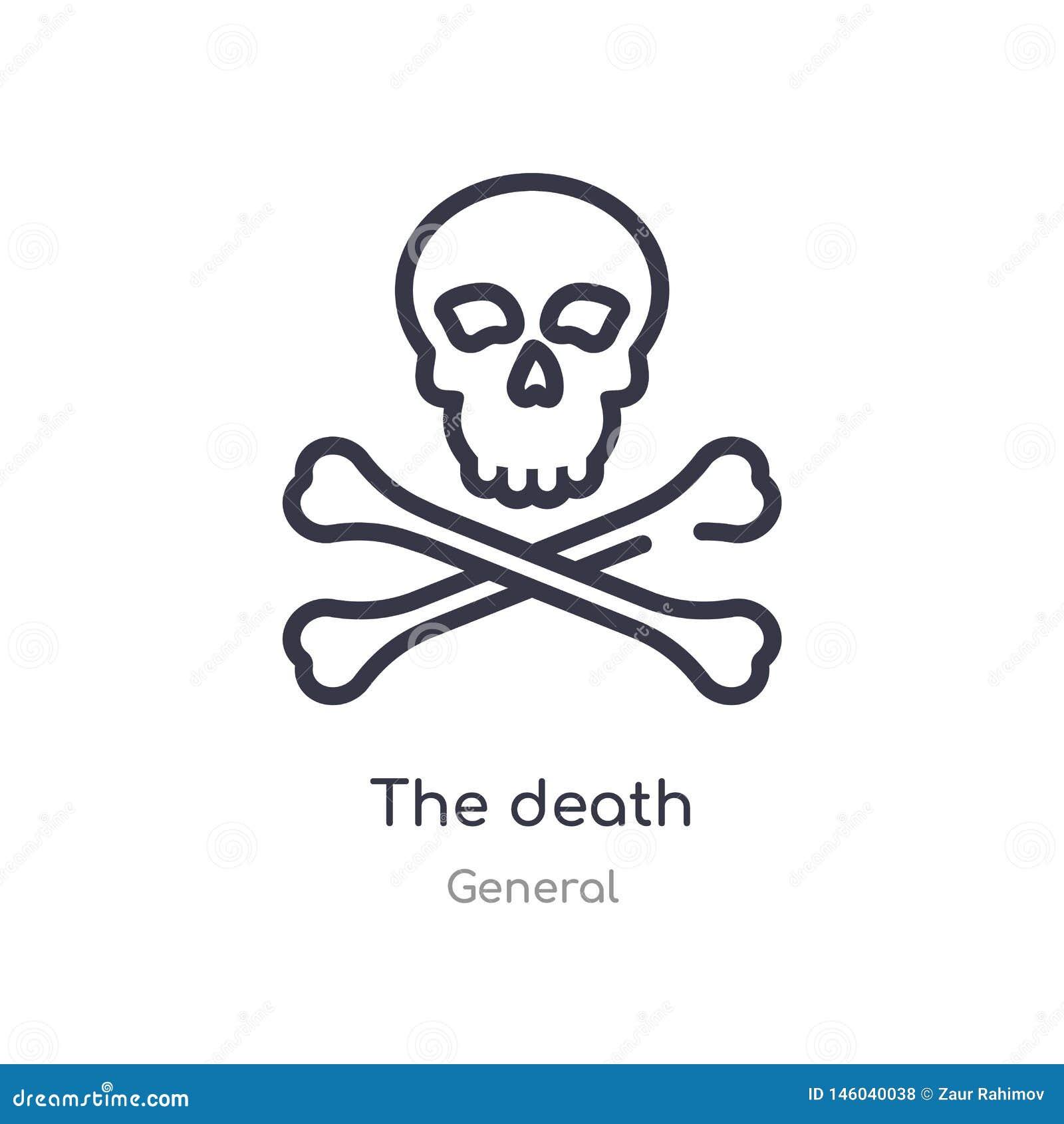 значок плана смерти изолированная линия иллюстрация вектора от общего собрания editable тонкий ход значок смерти на белизне