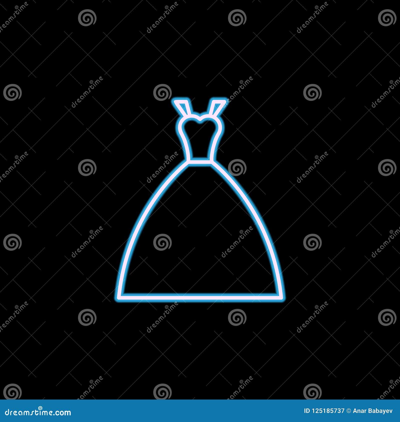 значок платья невесты в неоновом стиле Одно значка собрания свадьбы можно использовать для UI, UX