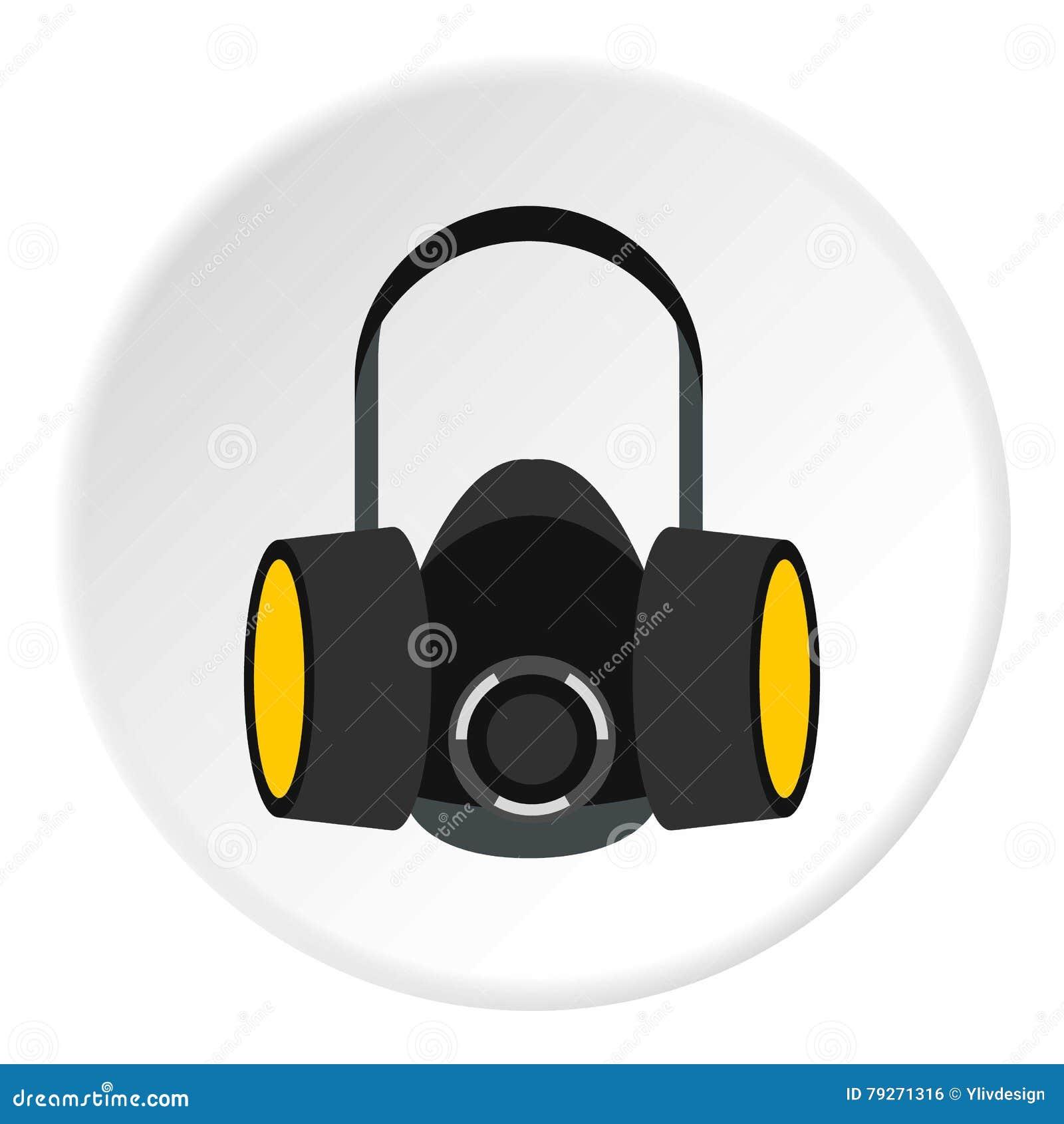 Значок половинной маски газа, плоский стиль