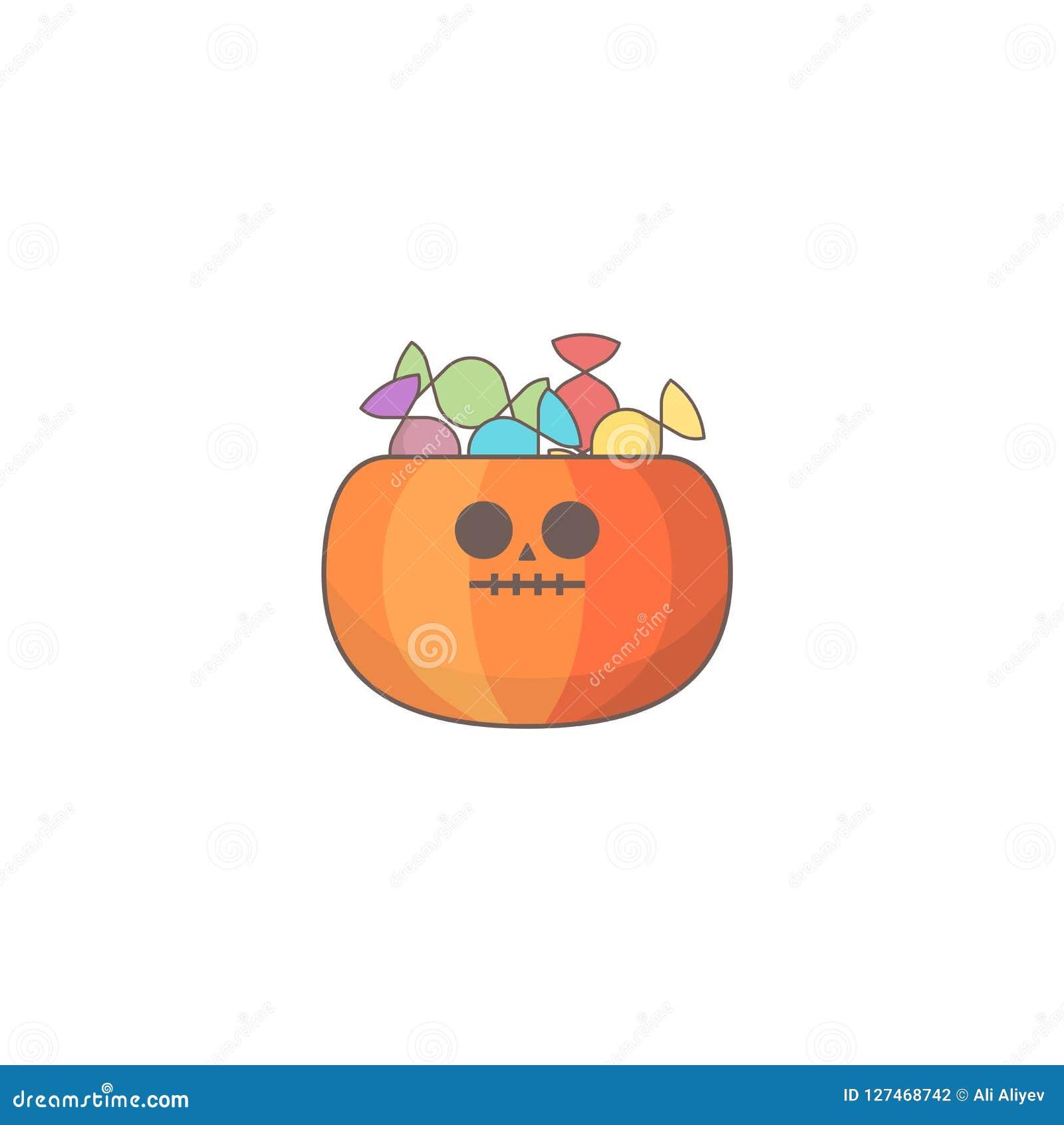 Значок праздника хеллоуина, сумка конфеты тыквы