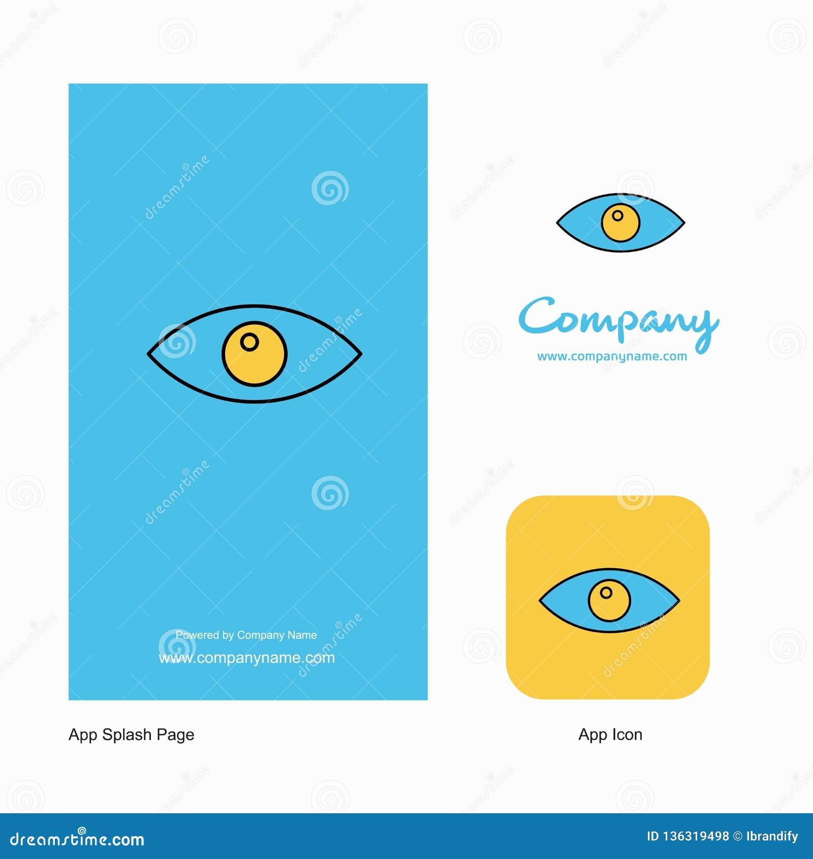 Значок приложения логотипа компании глаза и дизайн страницы выплеска r