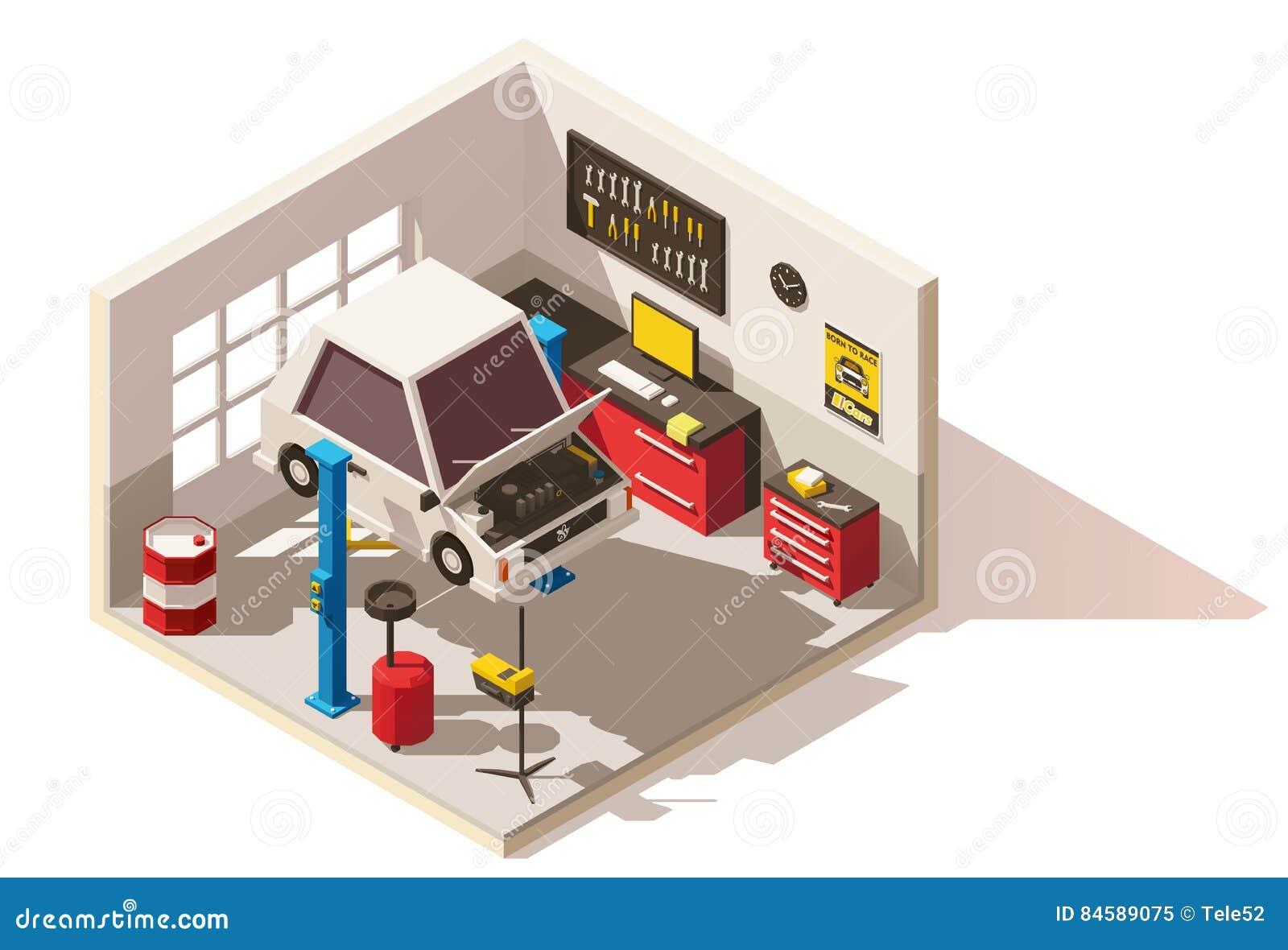 Значок пункта обслуживания автомобиля вектора равновеликий низкий поли