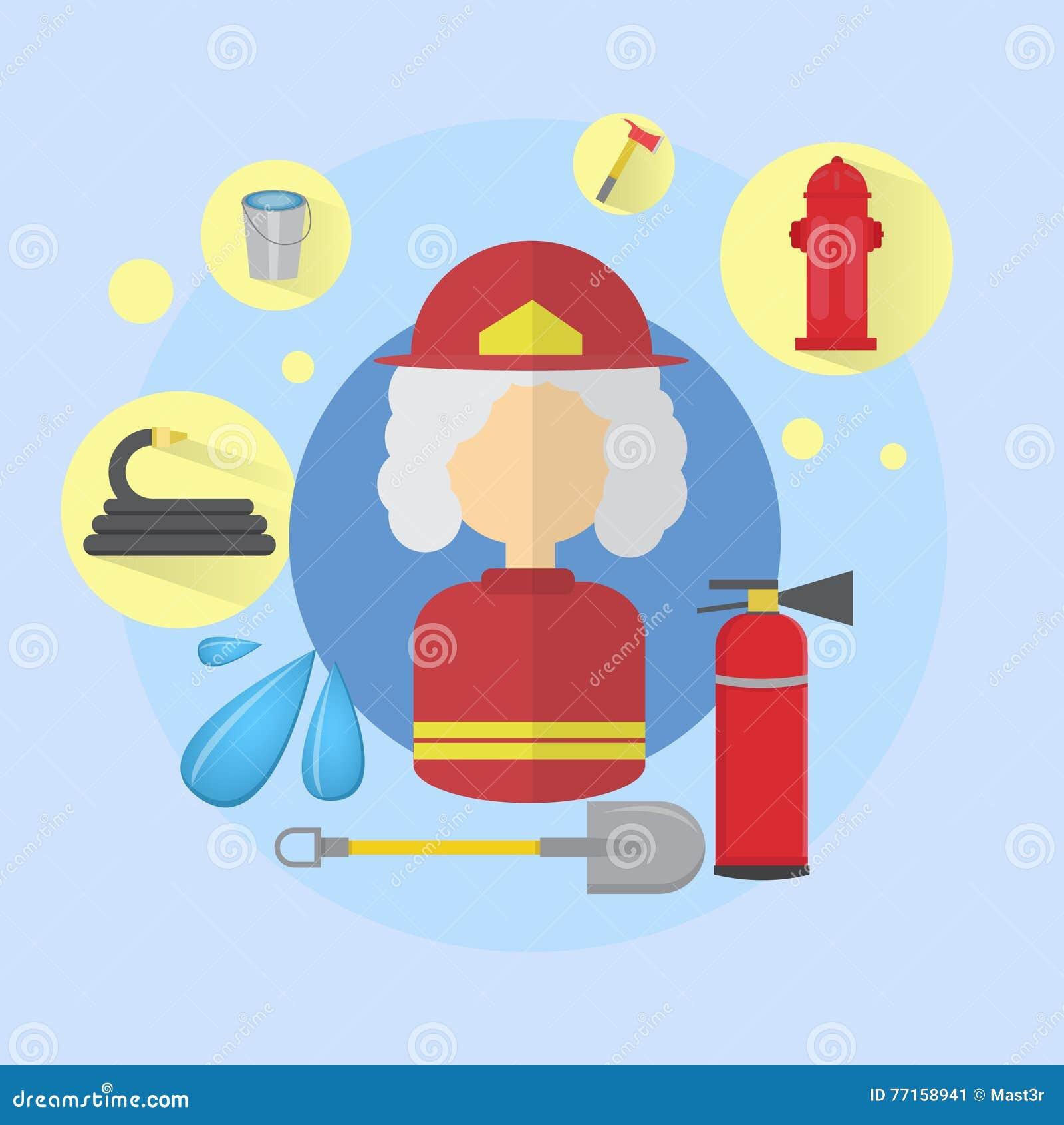 Значок работника пожарного женщины огня старший
