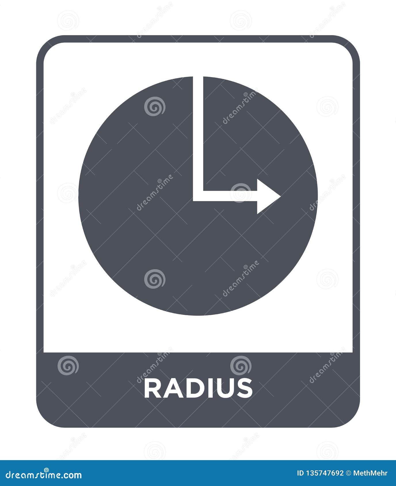 значок радиуса в ультрамодном стиле дизайна значок радиуса изолированный на белой предпосылке символ значка вектора радиуса прост