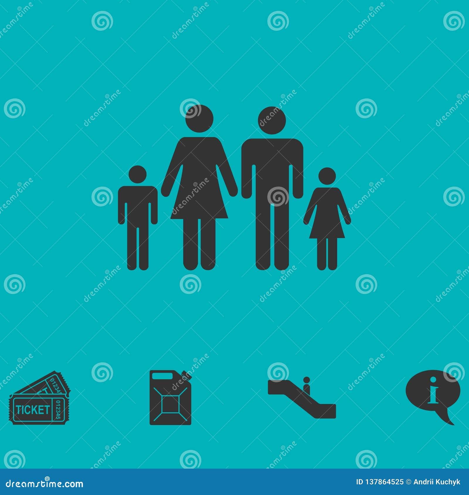 Значок семьи плоский
