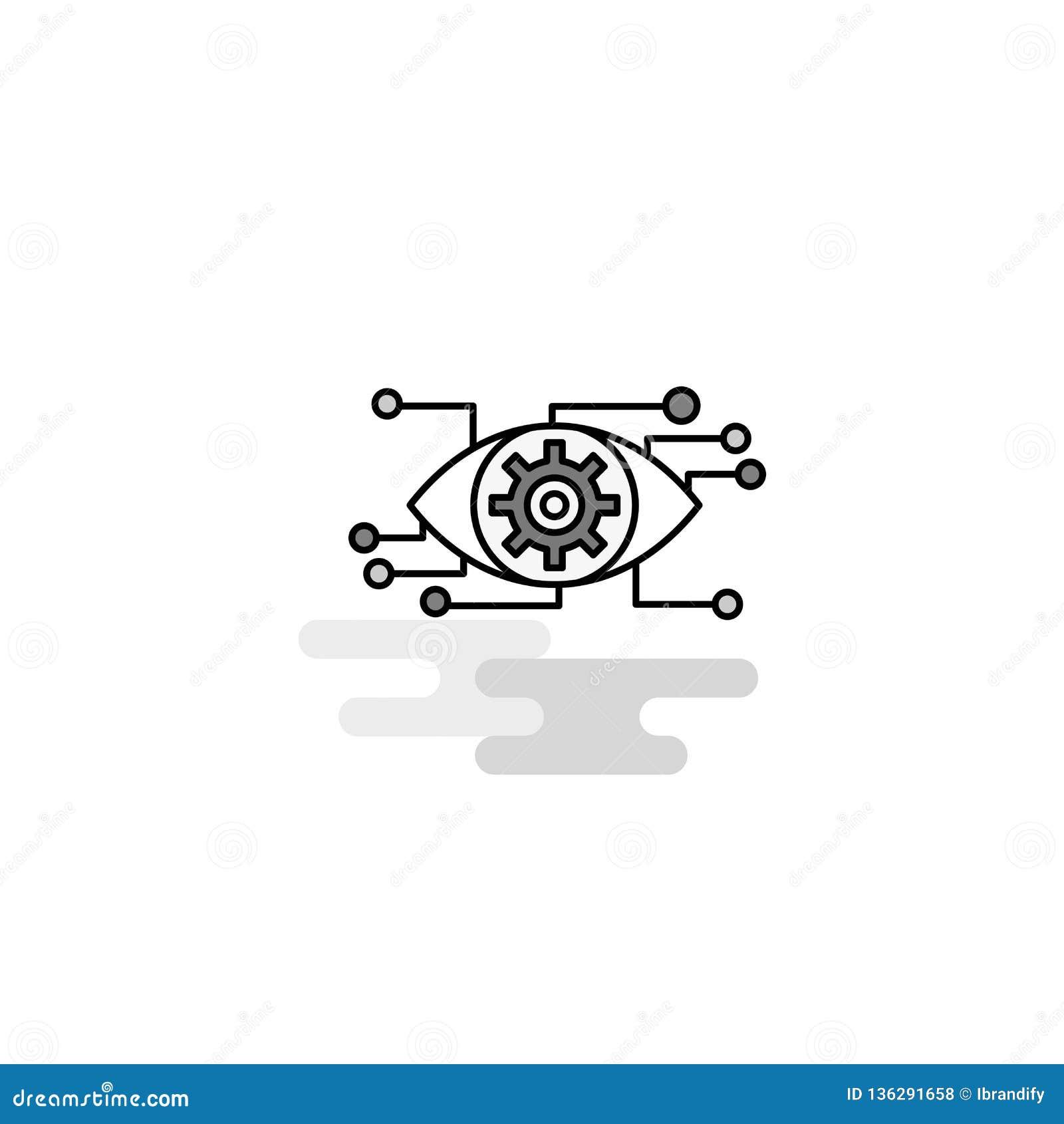 Значок сети установки глаза Плоская линия заполненный серый вектор значка