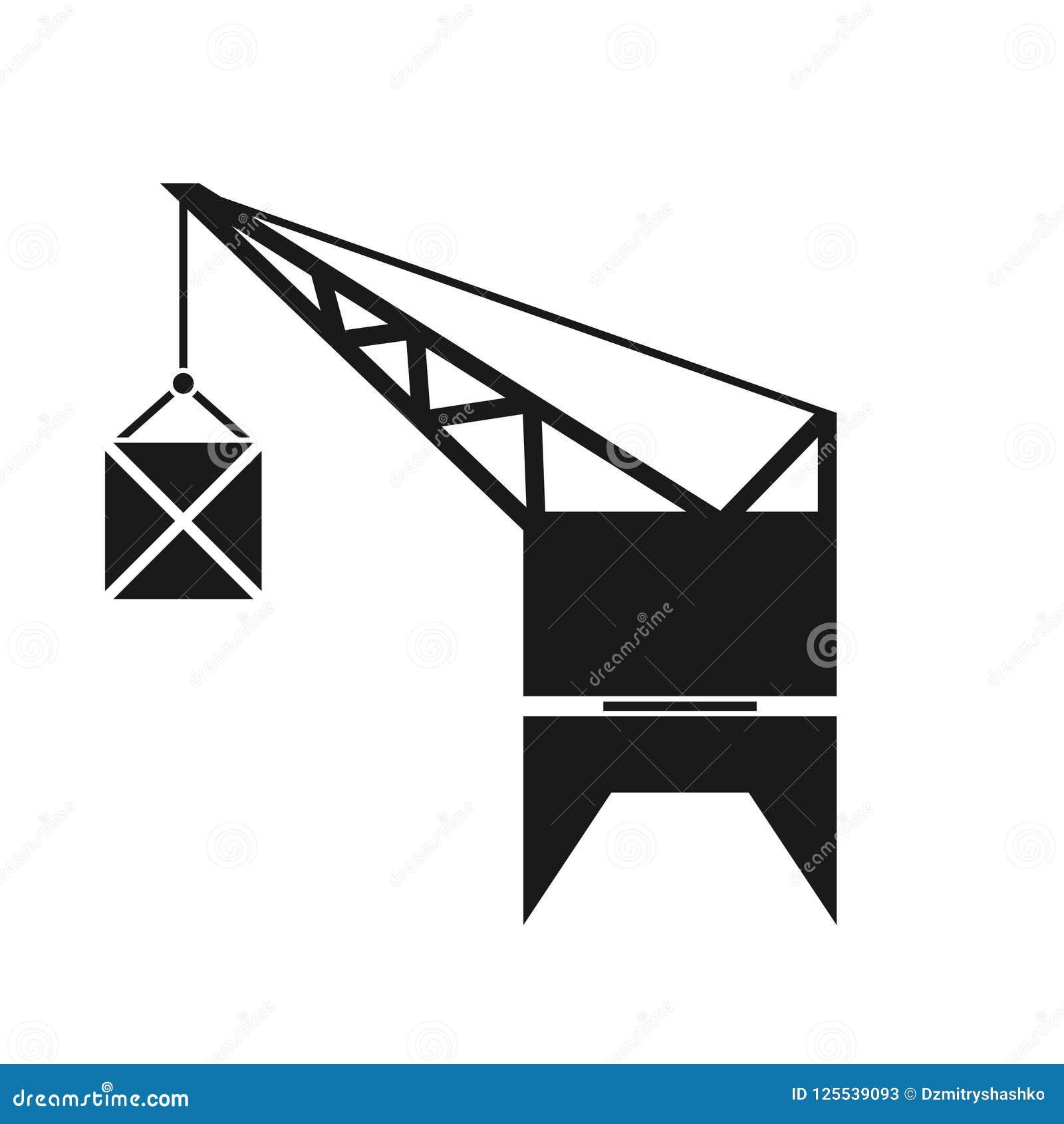 Значок силуэта крана порта