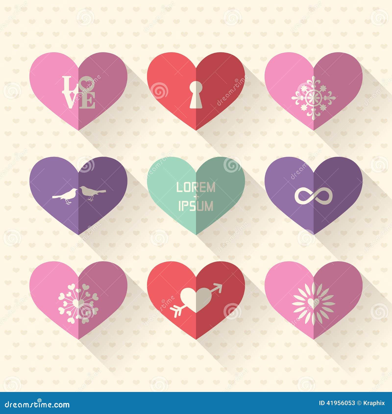 Значок символа сердца установил с концепцией влюбленности и свадьбы