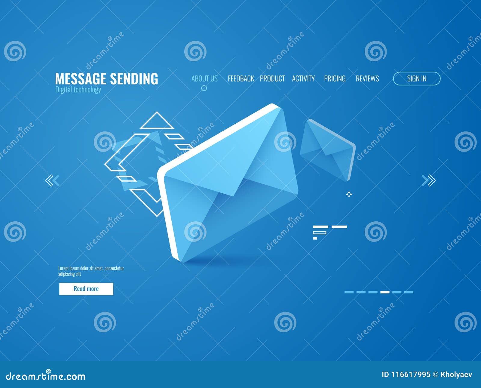 Значок сообщения, электронная почта посылая концепцию, реклама онлайн, шаблон интернет-страницы равновеликий
