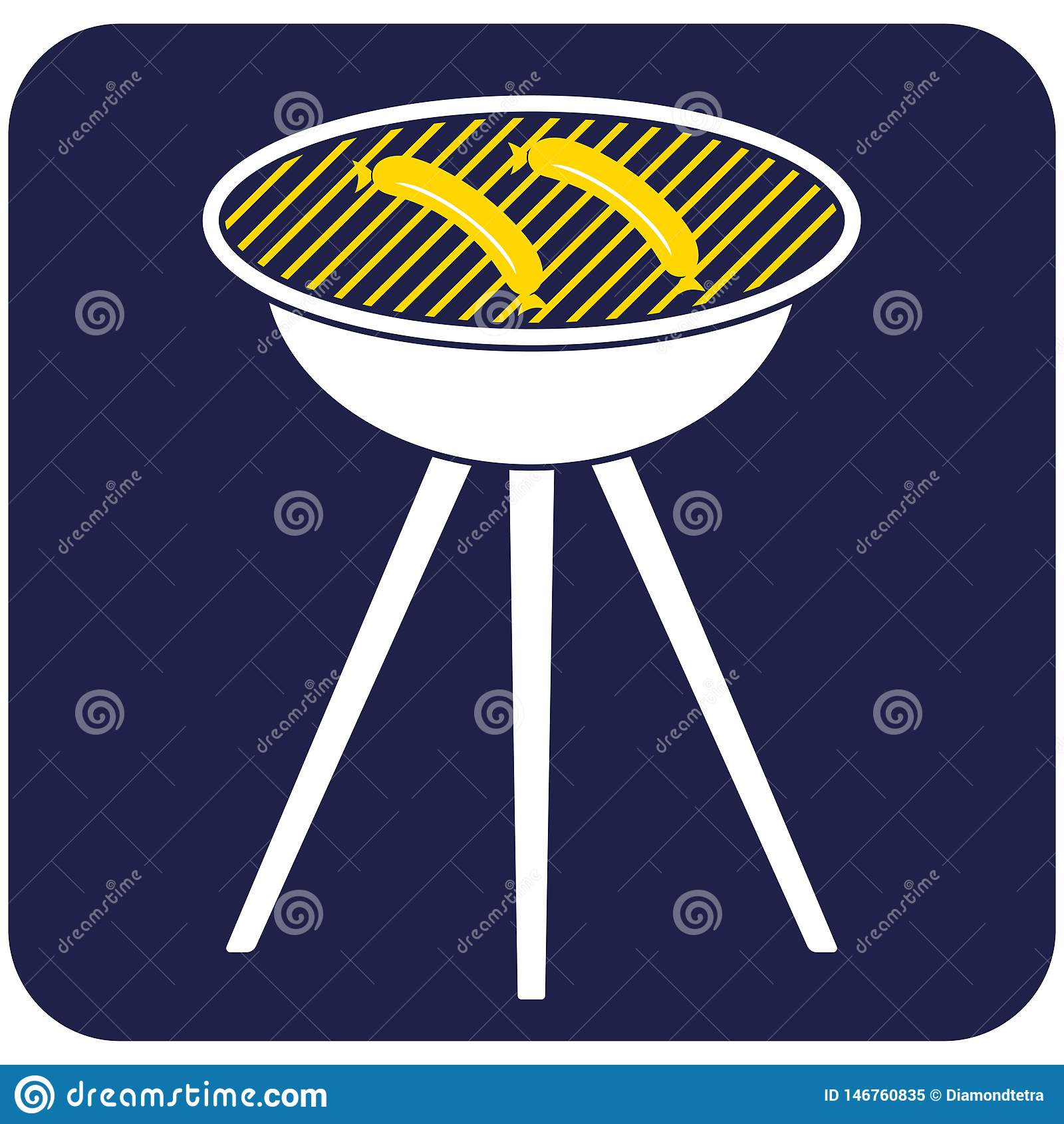 Значок сосиски барбекю