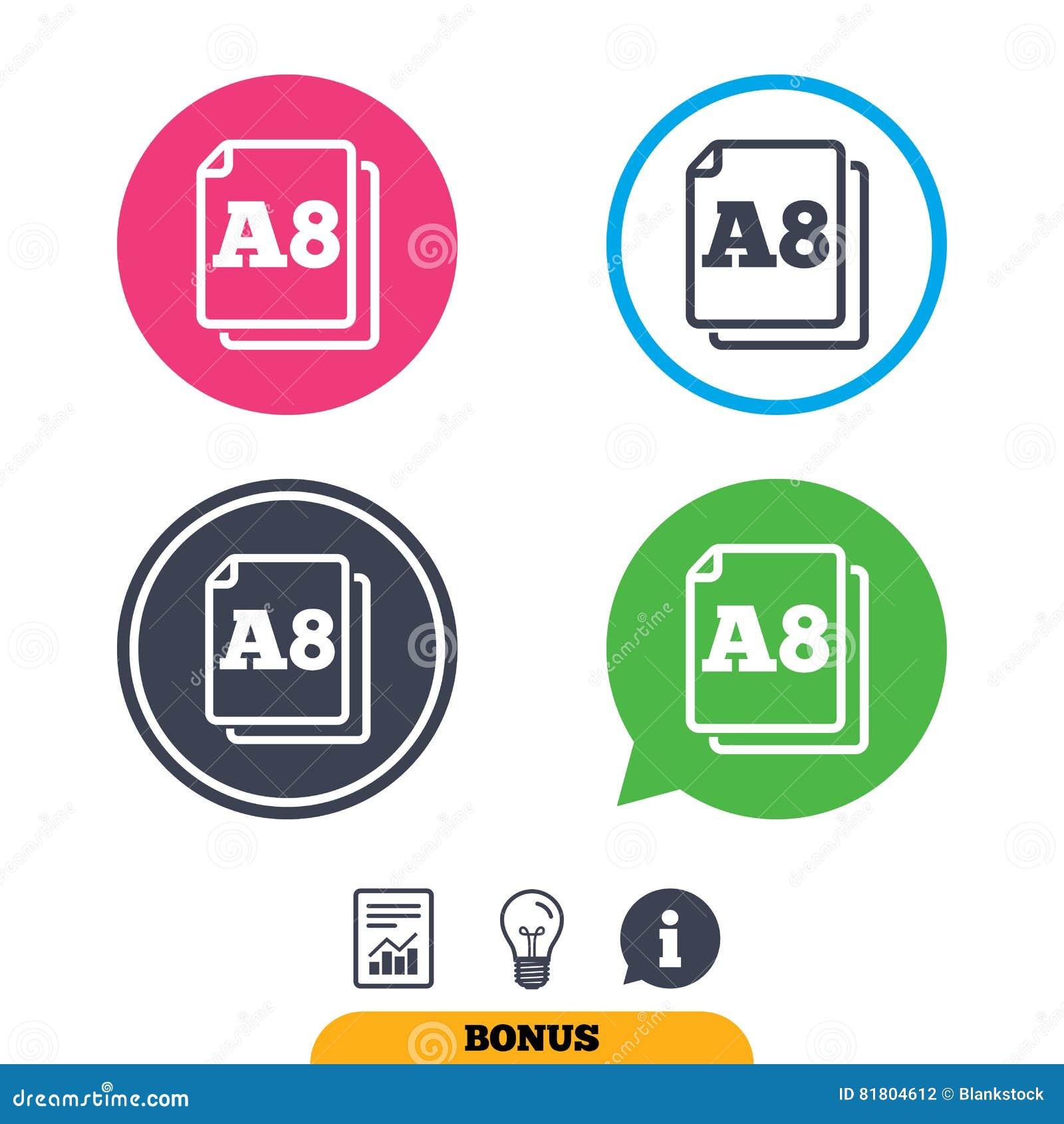 Значок стандарта размера бумаги A8 Символ документа