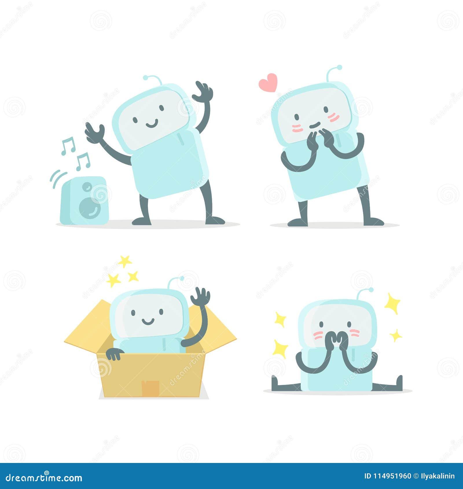 Значок стикера Emoji установленный Удивленный робот игрушки робота младенца милый малый новый и shy Очень милый для игрушки ребен