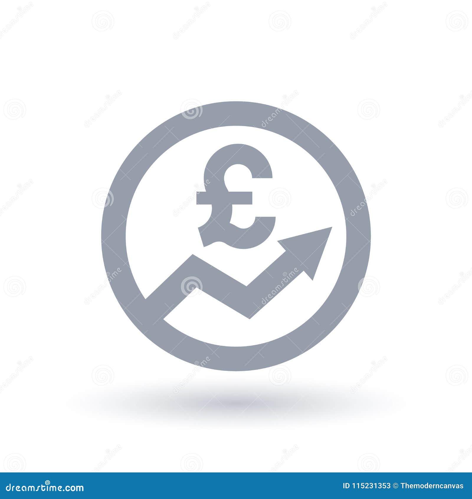 Значок стрелки английского фунта - symbo прогресса валюты Великобритании