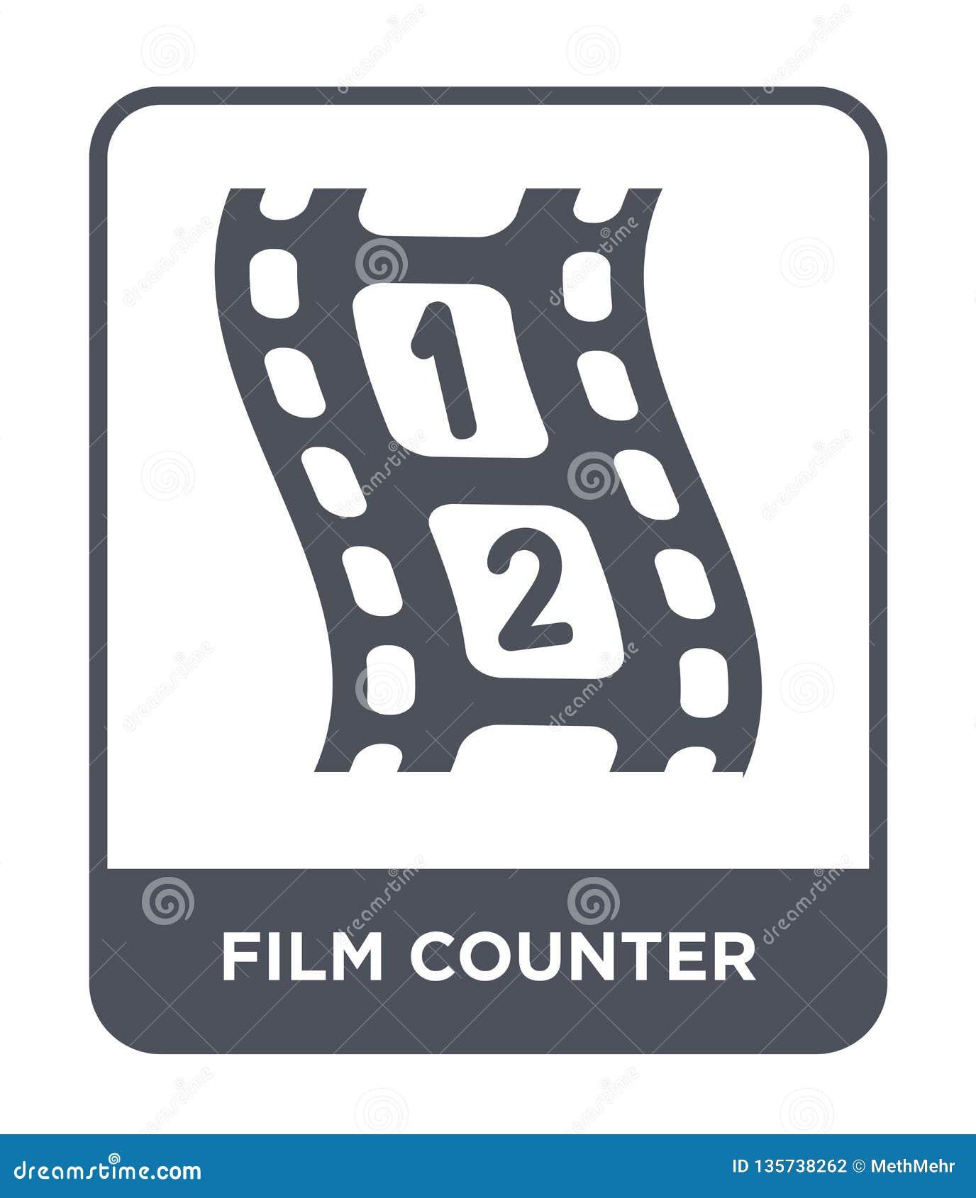 значок счетчика фильма в ультрамодном стиле дизайна значок счетчика фильма изолированный на белой предпосылке значок вектора счет