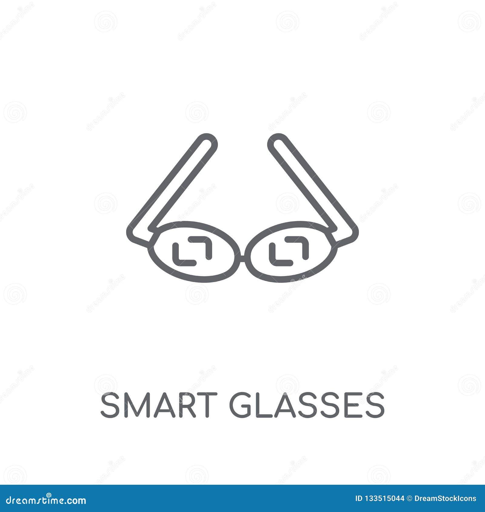 Значок умных стекел линейный Жулик логотипа стекел современного плана умный