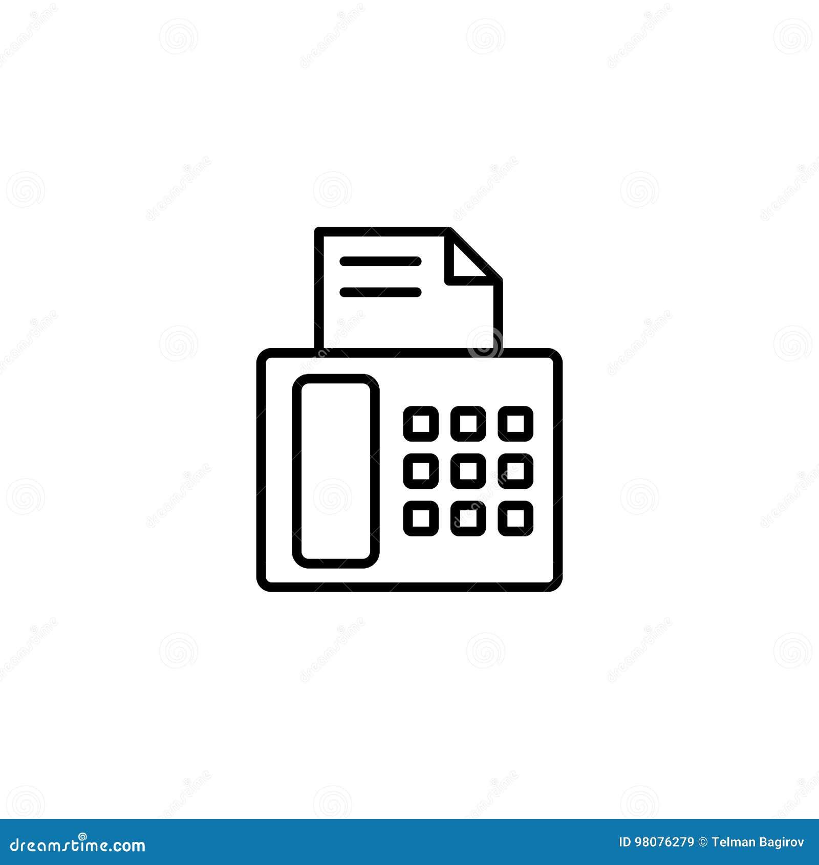 Значок факсимильной машины на белой предпосылке