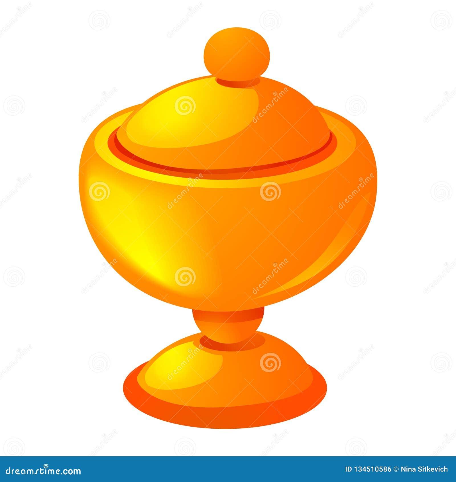 Значок чашки золота, стиль шаржа