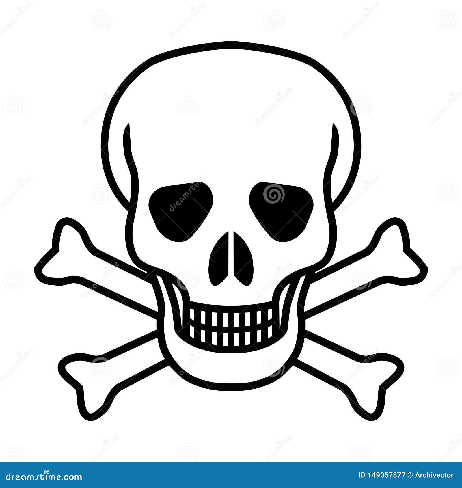 Значок черепа и косточек графический