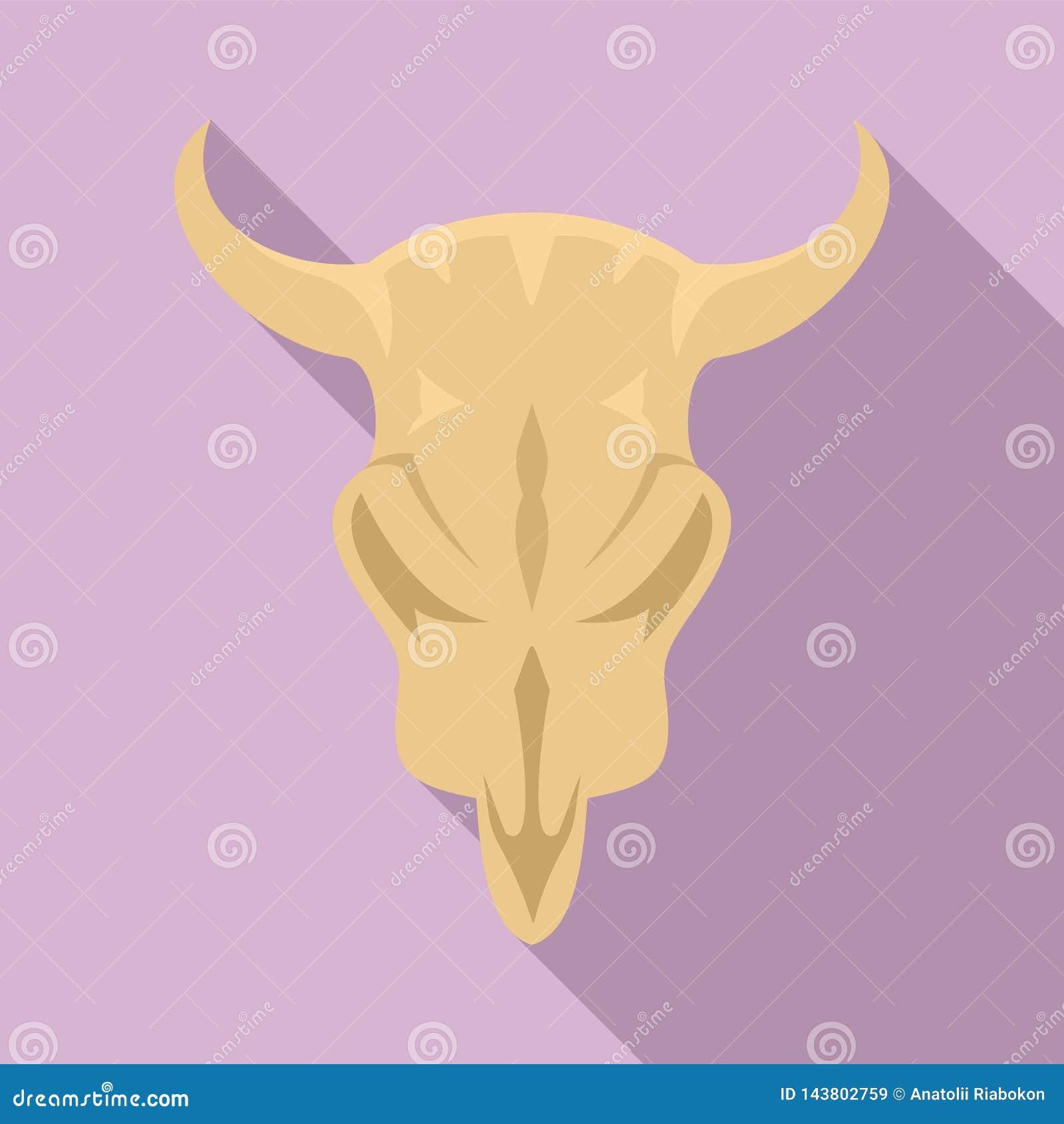 Значок черепа коровы каменного века, плоский стиль