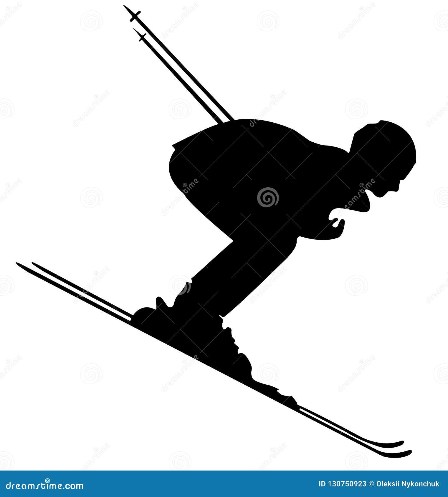 Значок черного лыжника плоский на белой предпосылке