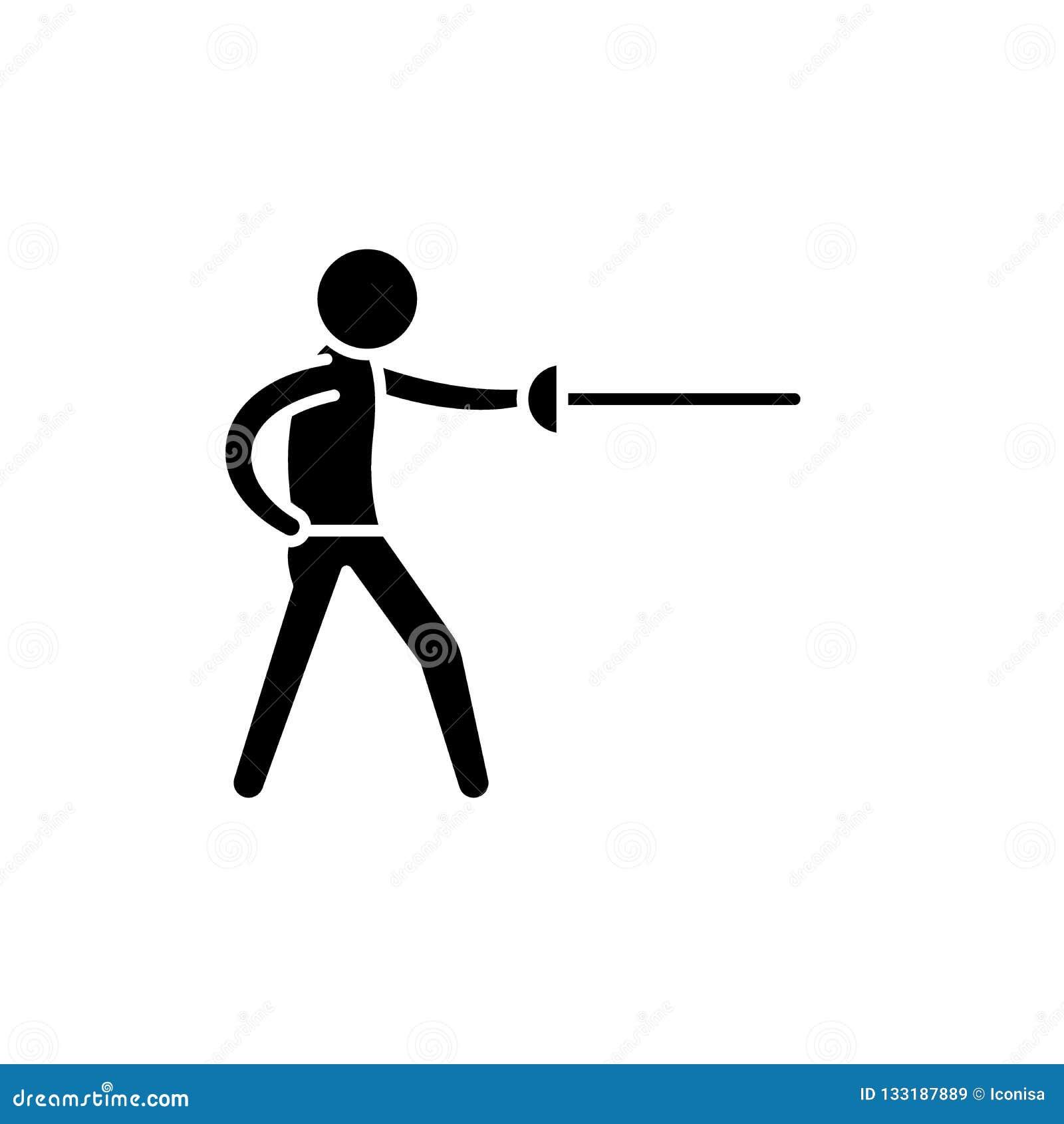 Значок черноты Swordsman, знак вектора на изолированной предпосылке Символ концепции Swordsman, иллюстрация