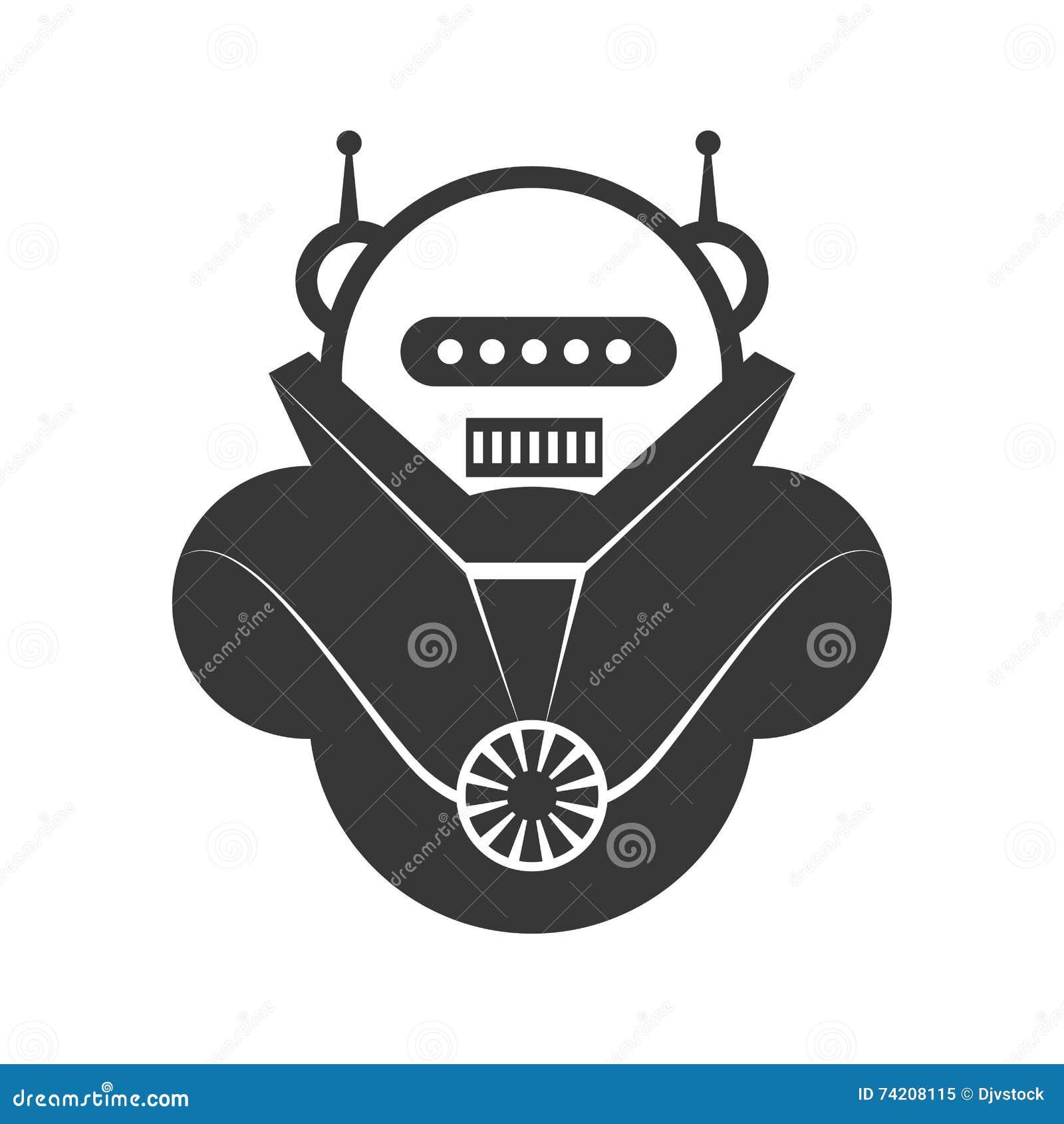 Значок шаржа робота Дизайн машины по мере того как вектор свирли предпосылки декоративный графический стилизованный развевает