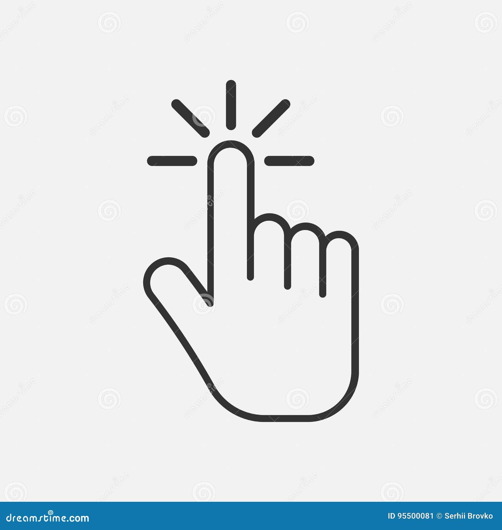 Значок щелчка икона руки жеста thumbs вверх Изолировано на предпосылке также вектор иллюстрации притяжки corel