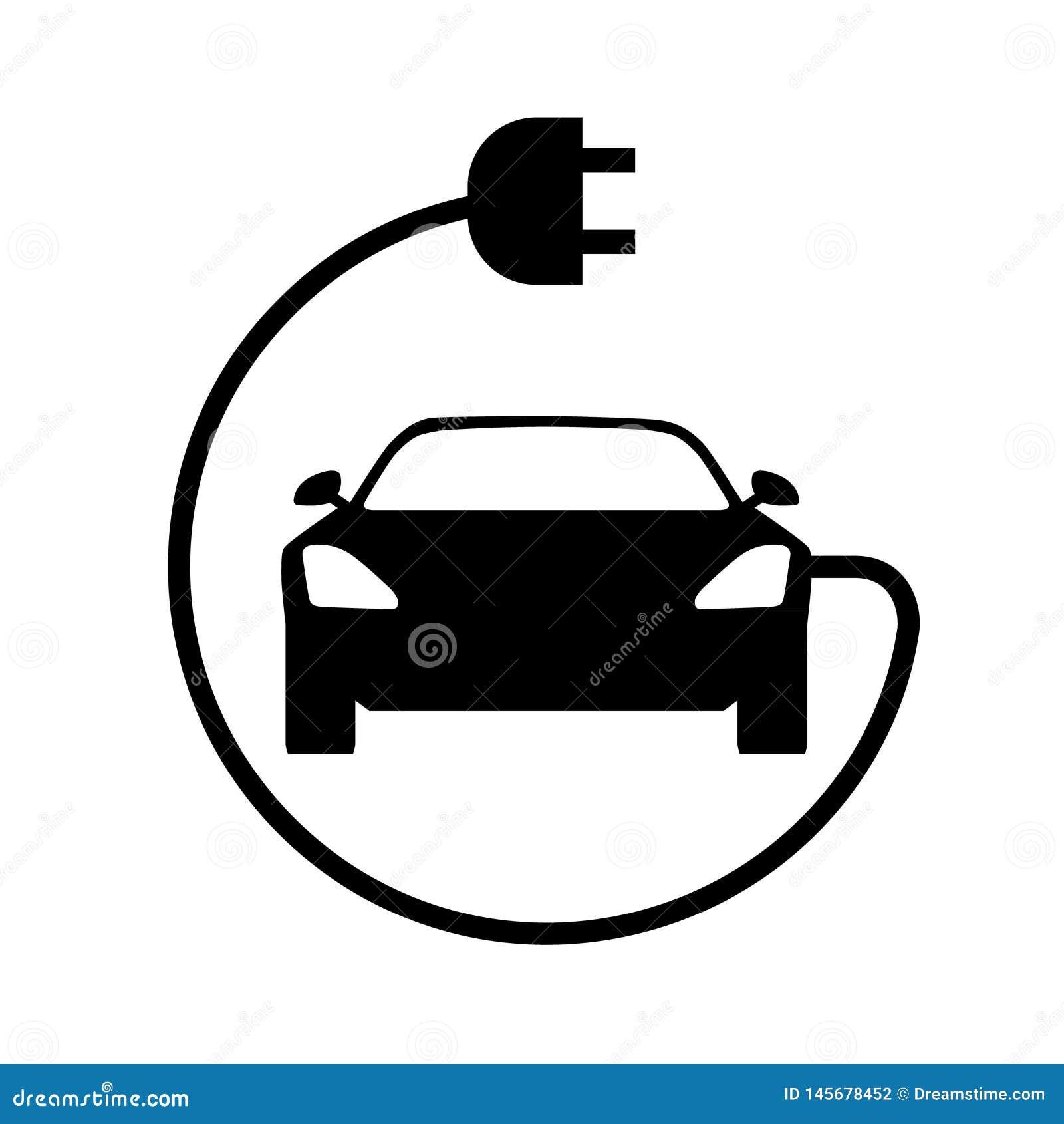 Значок электрического автомобиля Вид спереди
