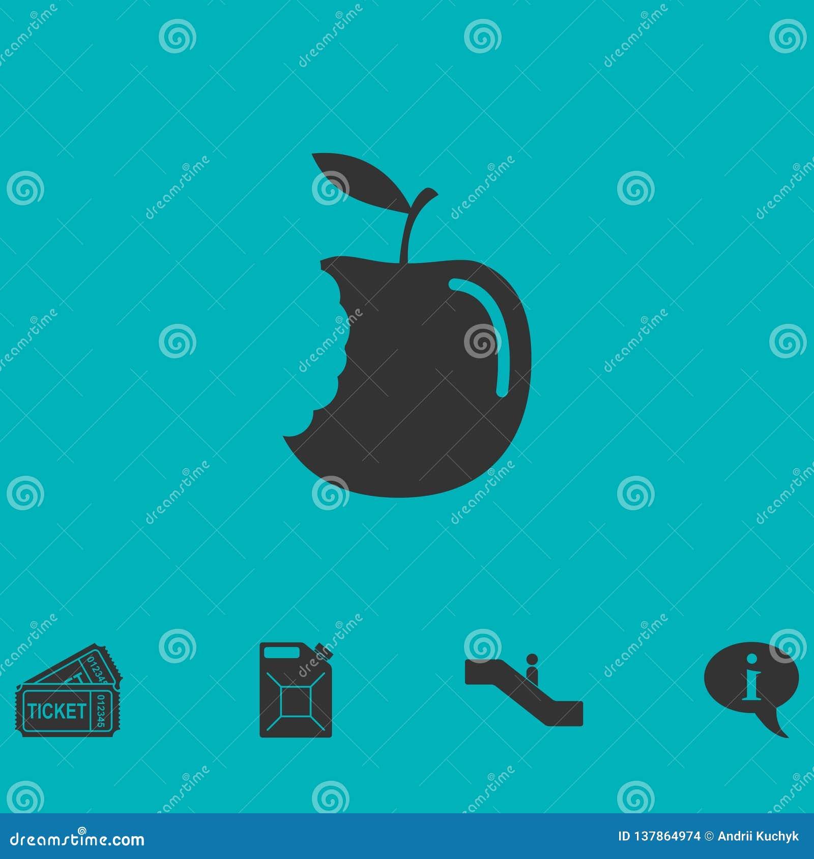 Значок яблока укуса плоско