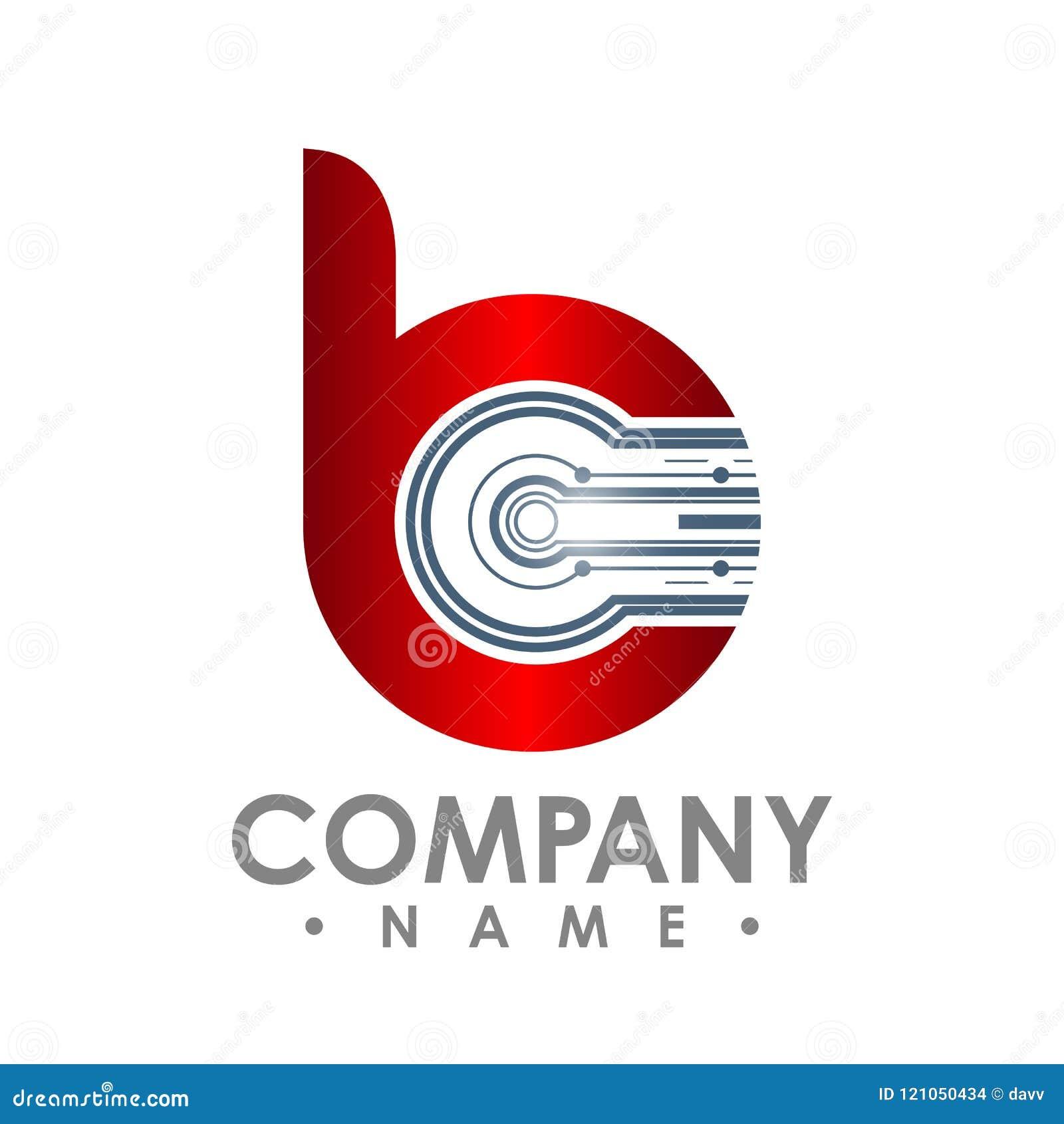 Значок b письма Логотип, компьютер и данные по технологии умные связали