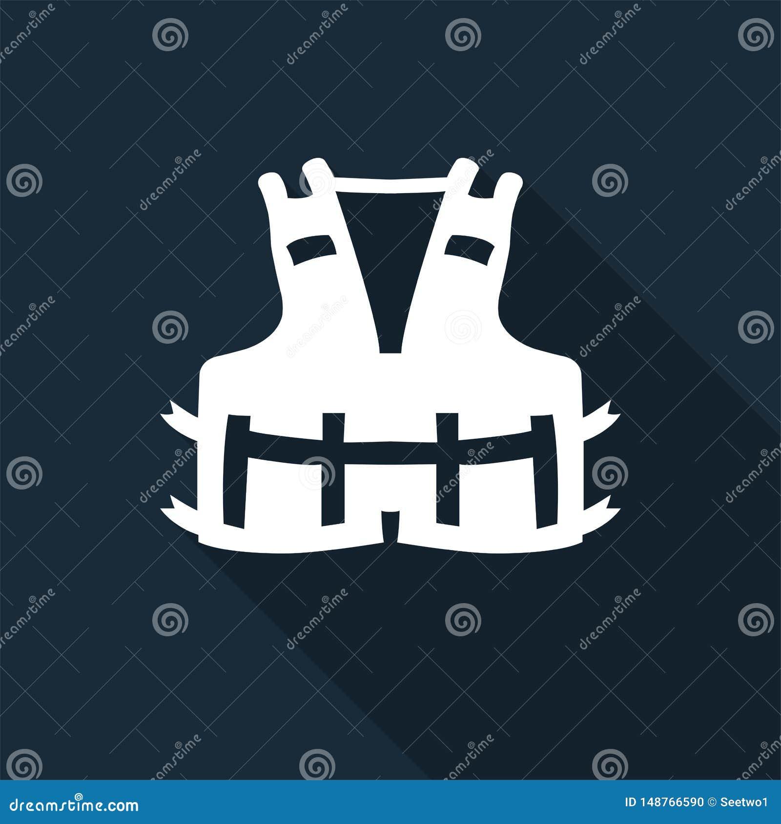 Значок PPE Носить спасательный жилет для изолята знака символа безопасности на черной предпосылке, иллюстрация вектора