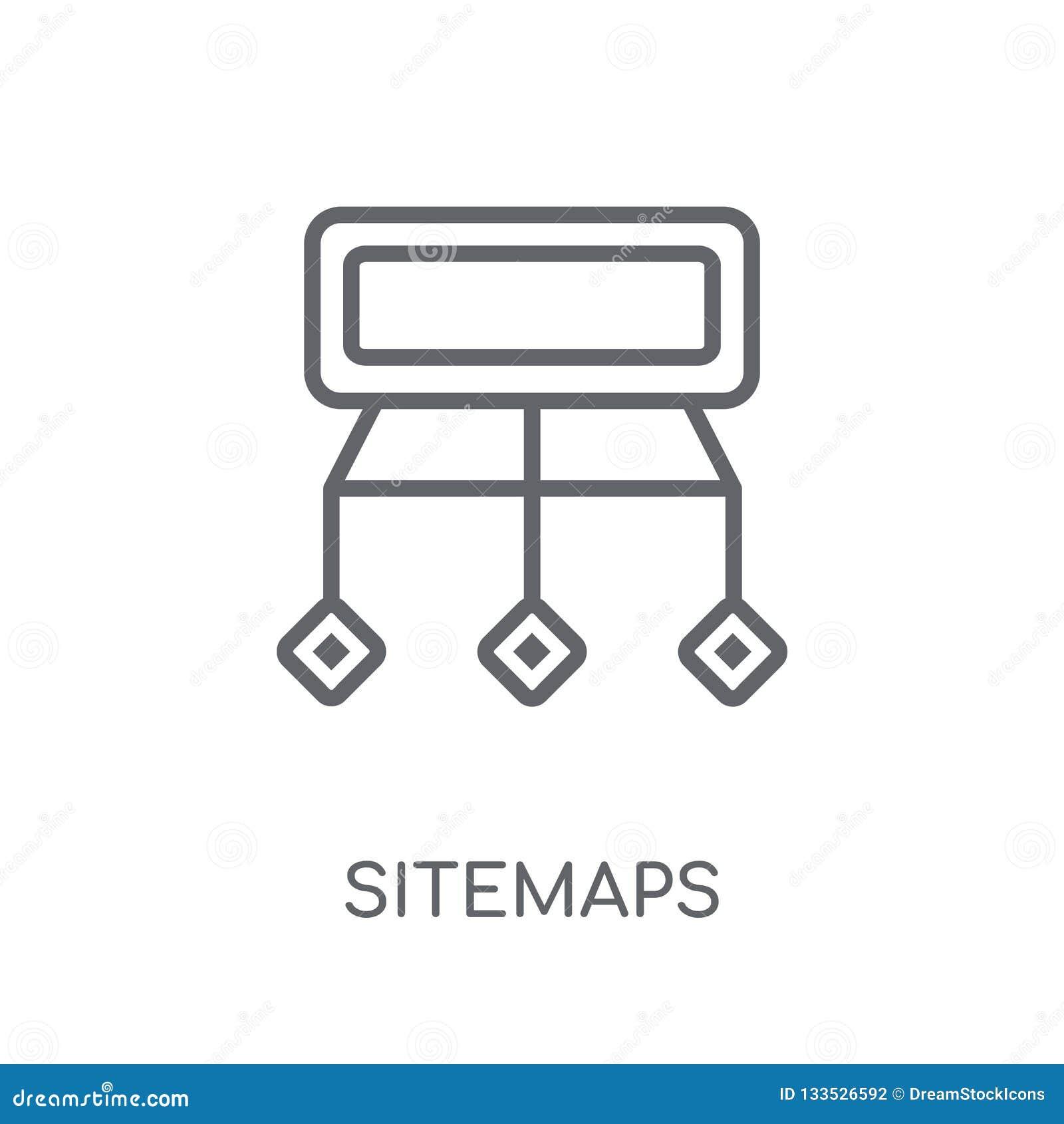 Значок Sitemaps линейный Современная концепция логотипа Sitemaps плана на wh