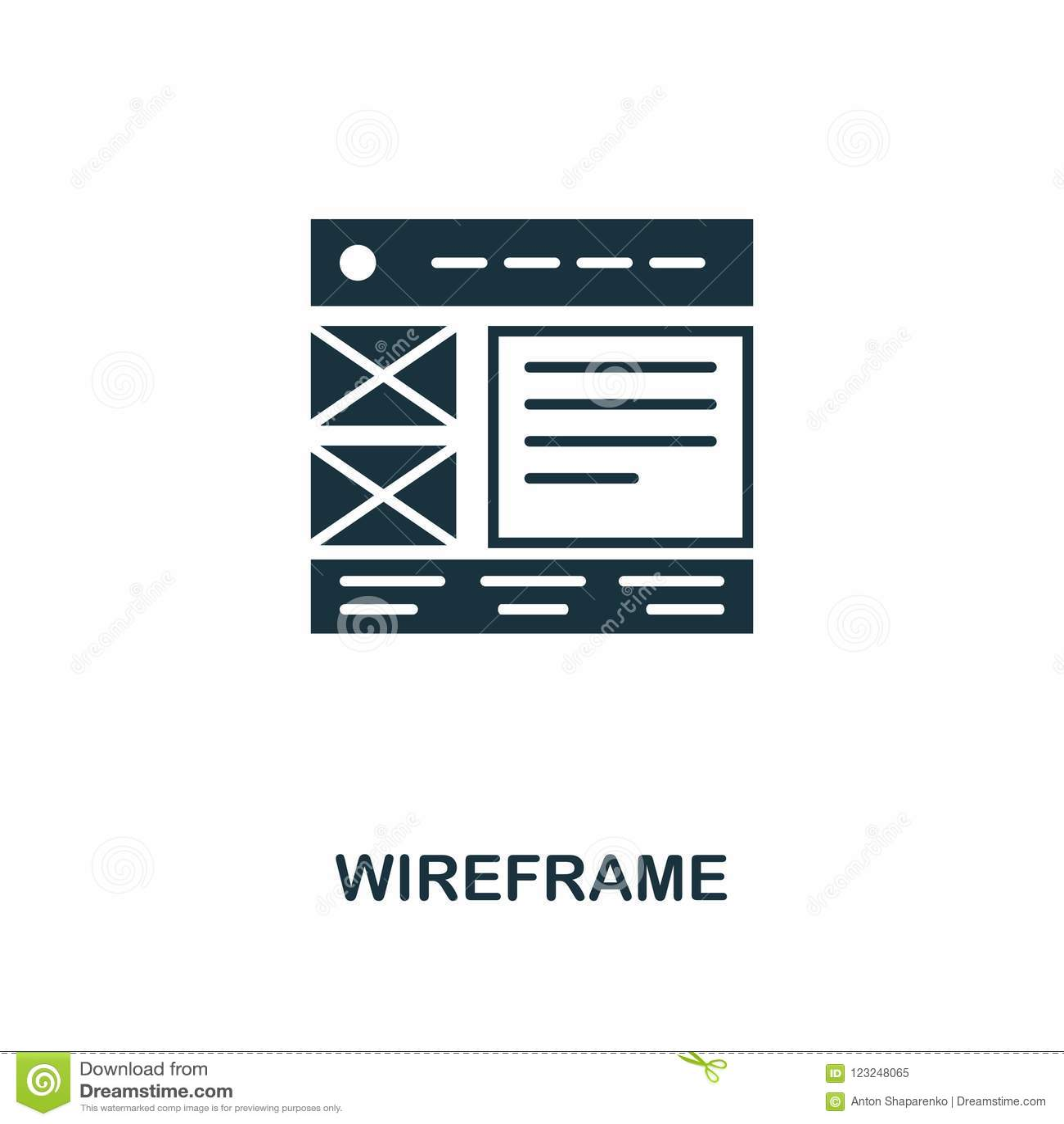 Значок Wireframe творческий Простая иллюстрация элемента Дизайн символа концепции Wireframe от собрания развития сети Улучшите дл