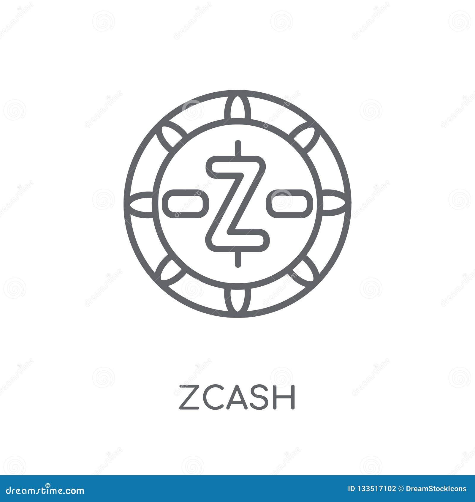 Значок Zcash линейный Современная концепция логотипа Zcash плана на белом ба