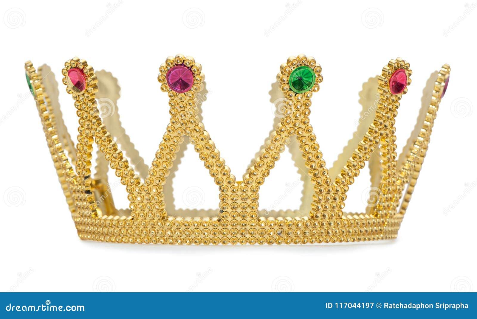 Золотая изолированная крона на белой предпосылке с путем клиппирования