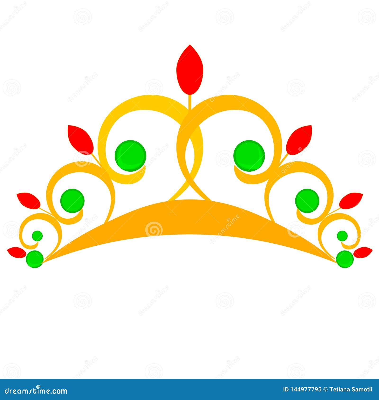 E Золотая крона изолированная с сеткой градиента, вектором