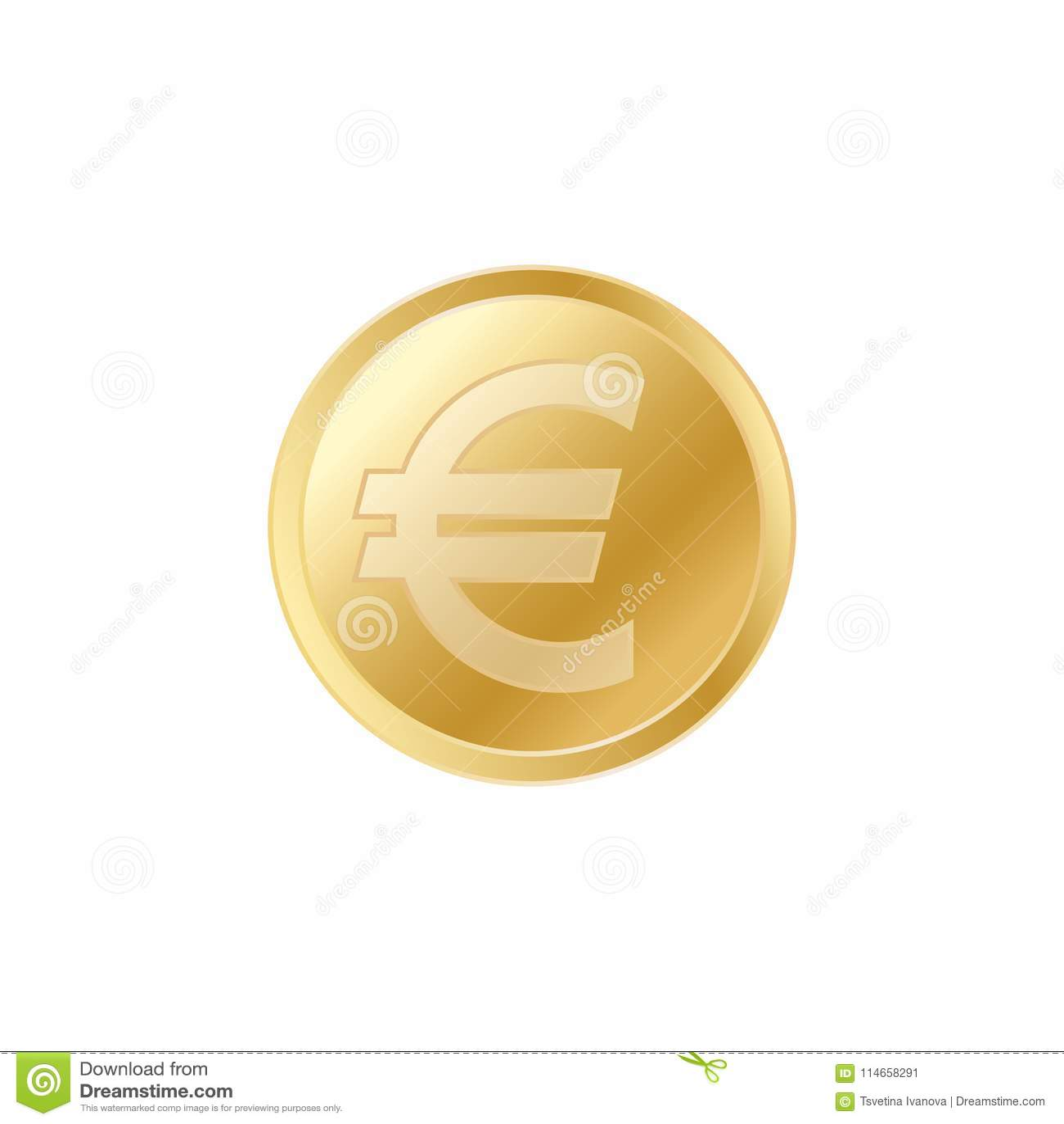 Золотая монетка евро Реалистическая lifelike монетка евро золота