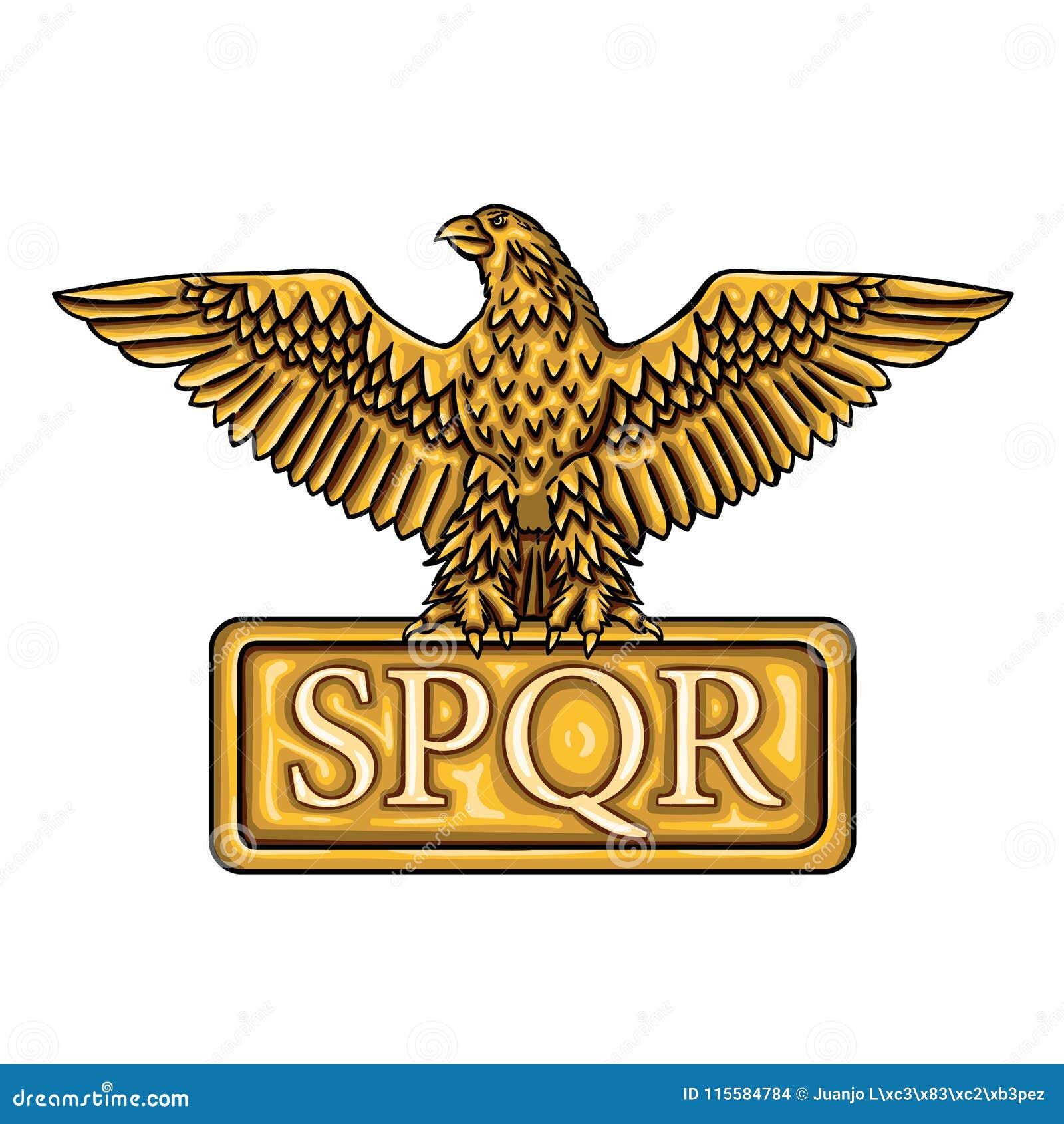 Золотая эмблема римской империи SPQR с орлом