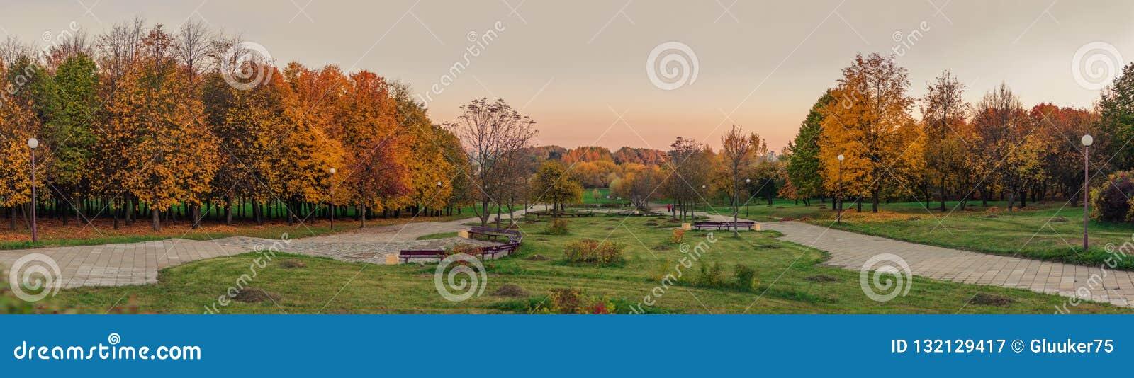 Золотистая осень панорамный вид от холма в выравниваясь парк города осени