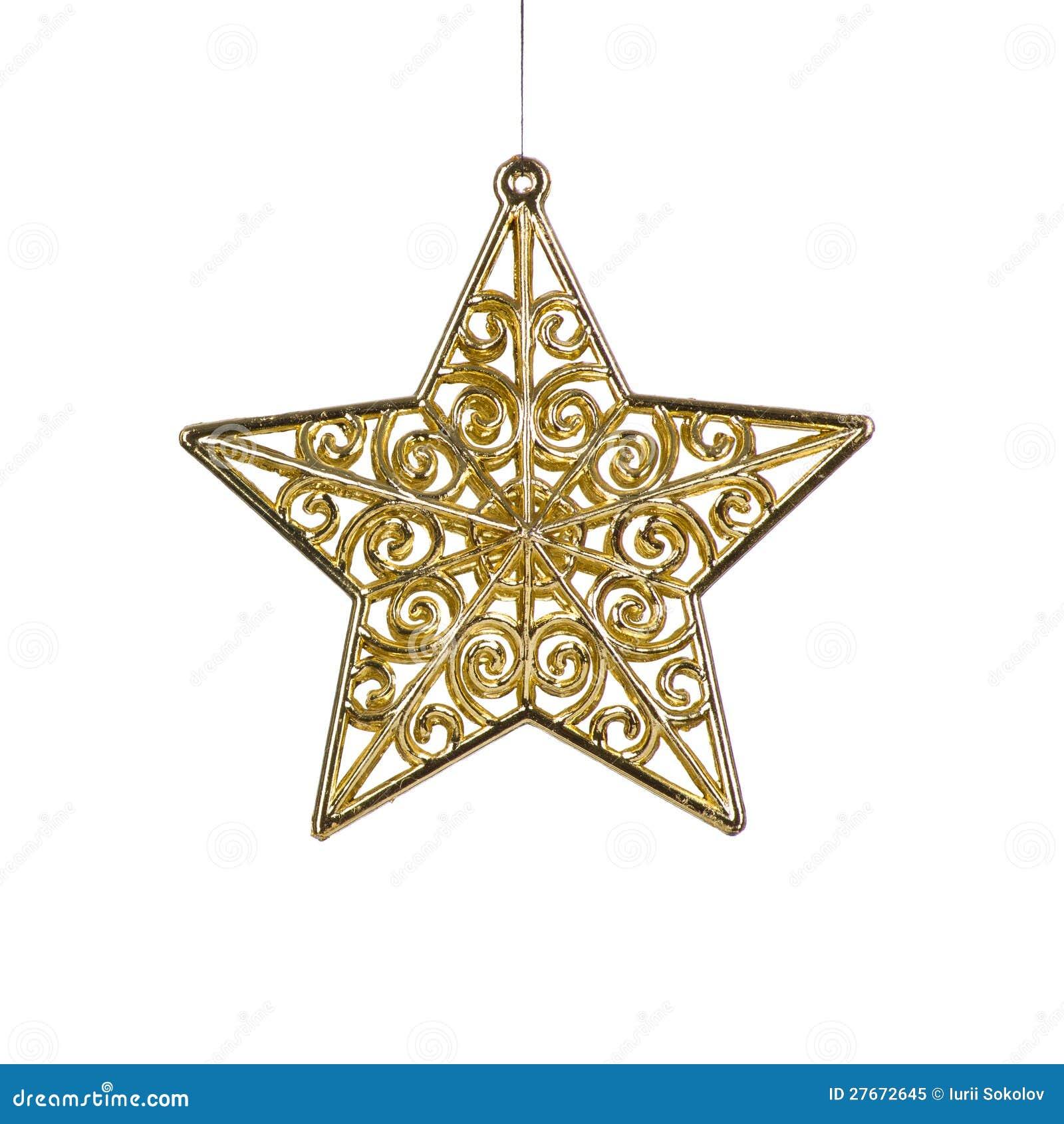 Золотистое украшение звезды рождества