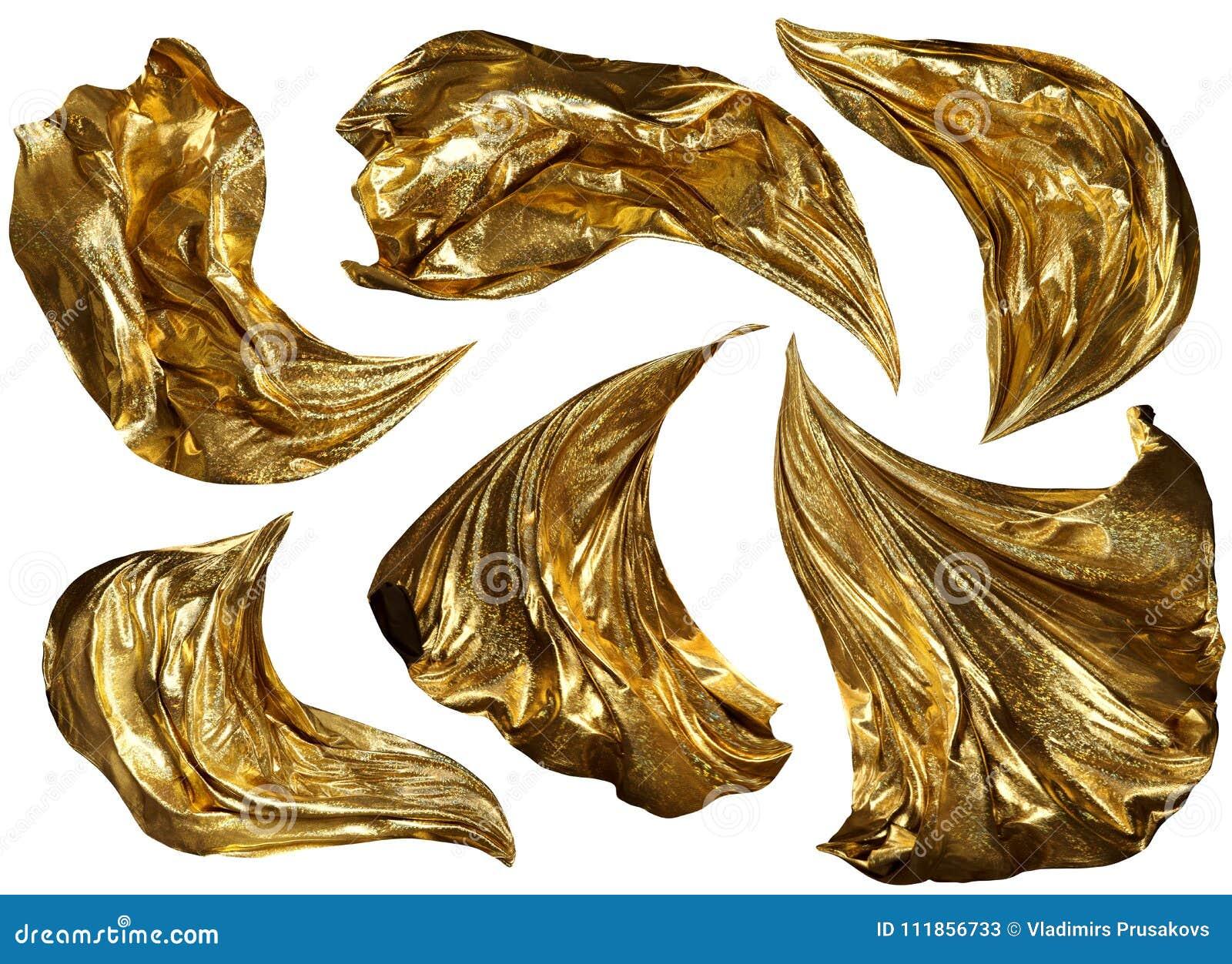 Золотое летание ткани на ветре, пропуская развевая ткани блеска золота