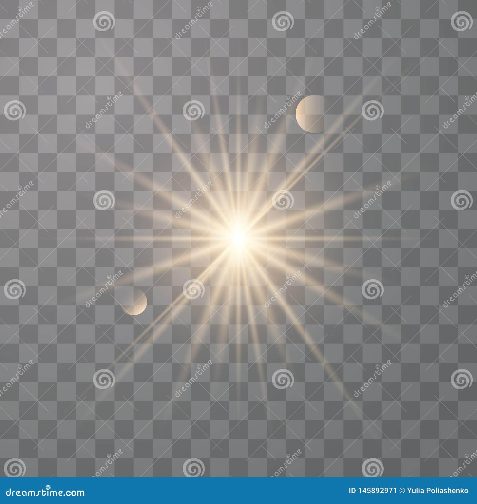 Золотое сияющее солнце вектора