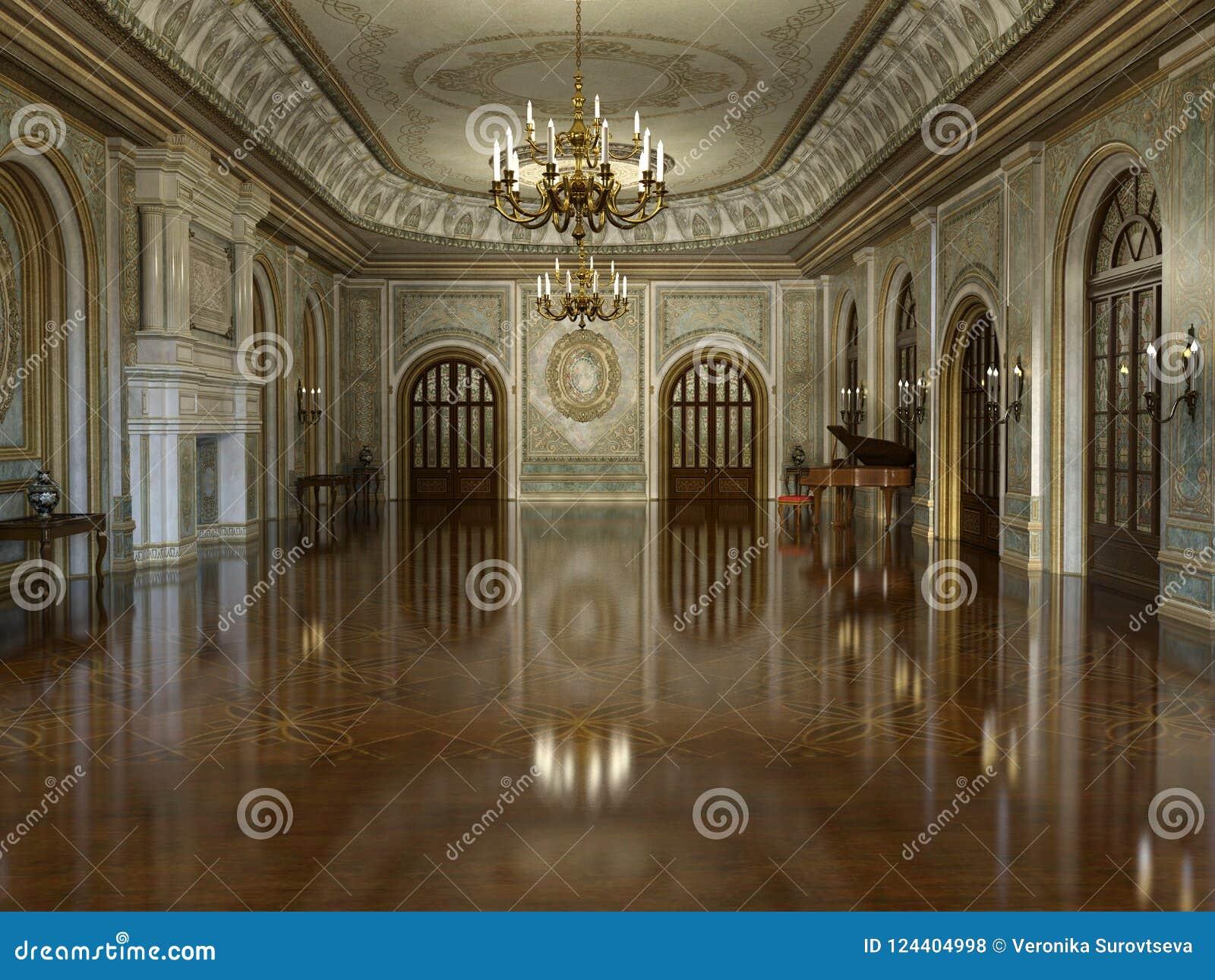 Золотой роскошный грандиозный интерьер Hall