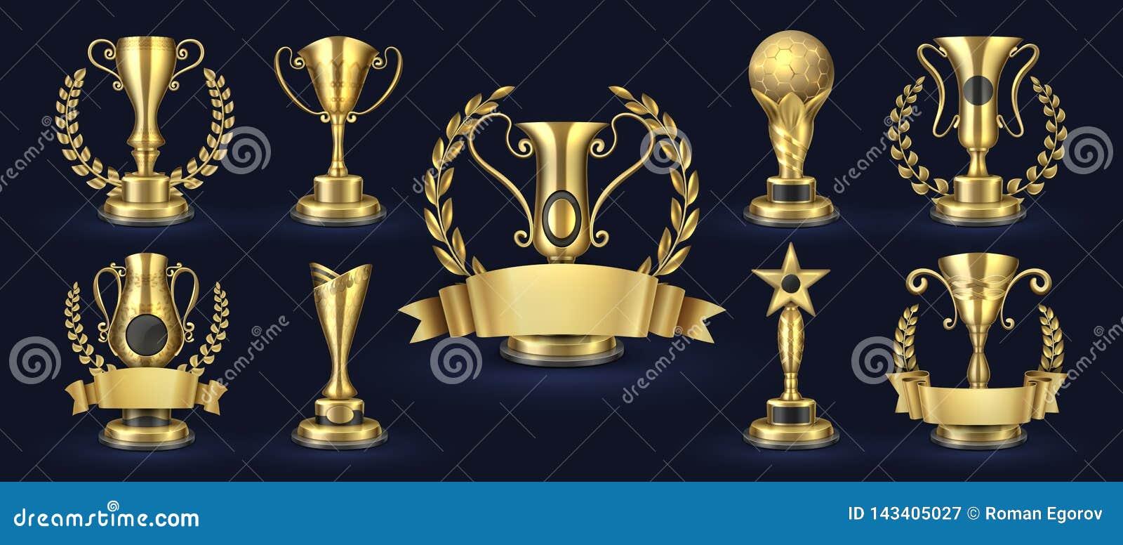 Золотой трофей Реалистическая награда чемпиона, призы с формами лавра, знамя победителя состязания наград 3d Чашка вектора золота